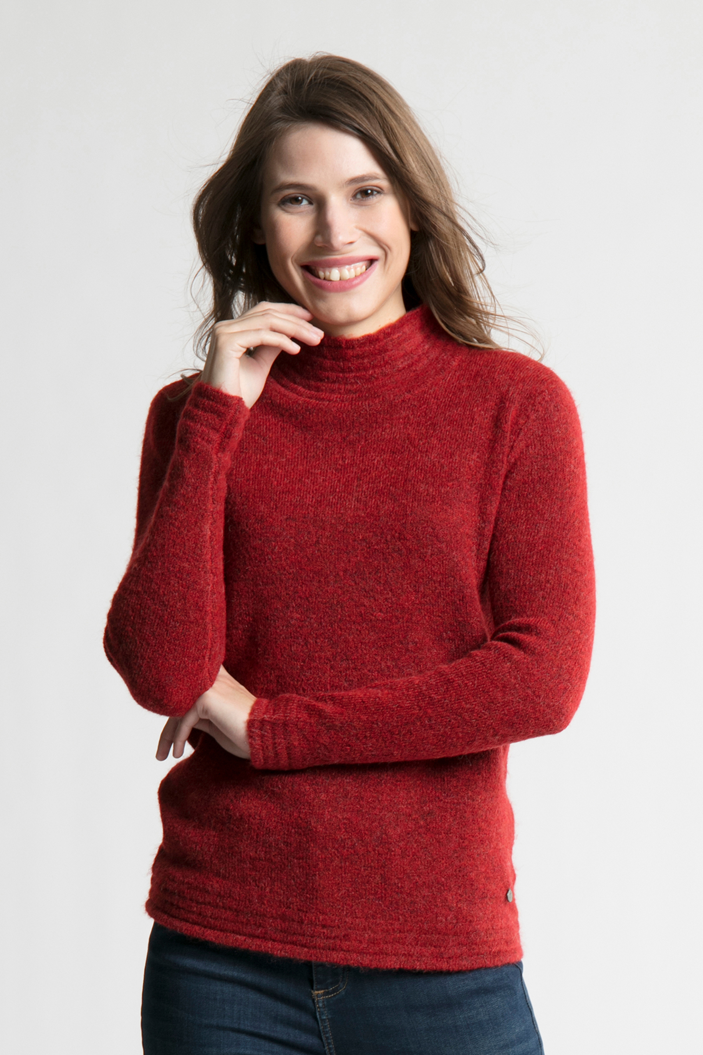Rödmelerad Stickad pullover från Fransa – Köp Rödmelerad Stickad pullover från stl. XS-XXL här