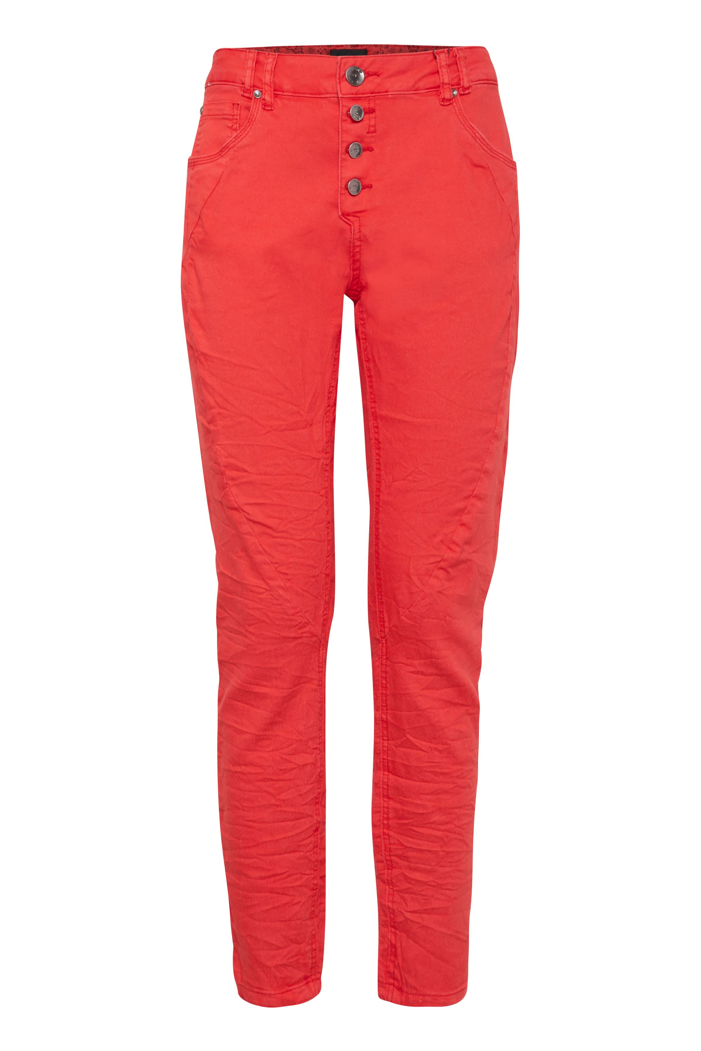 Image of Pulz Jeans Dame 5-lommet Rosita ankelbukser - Rød