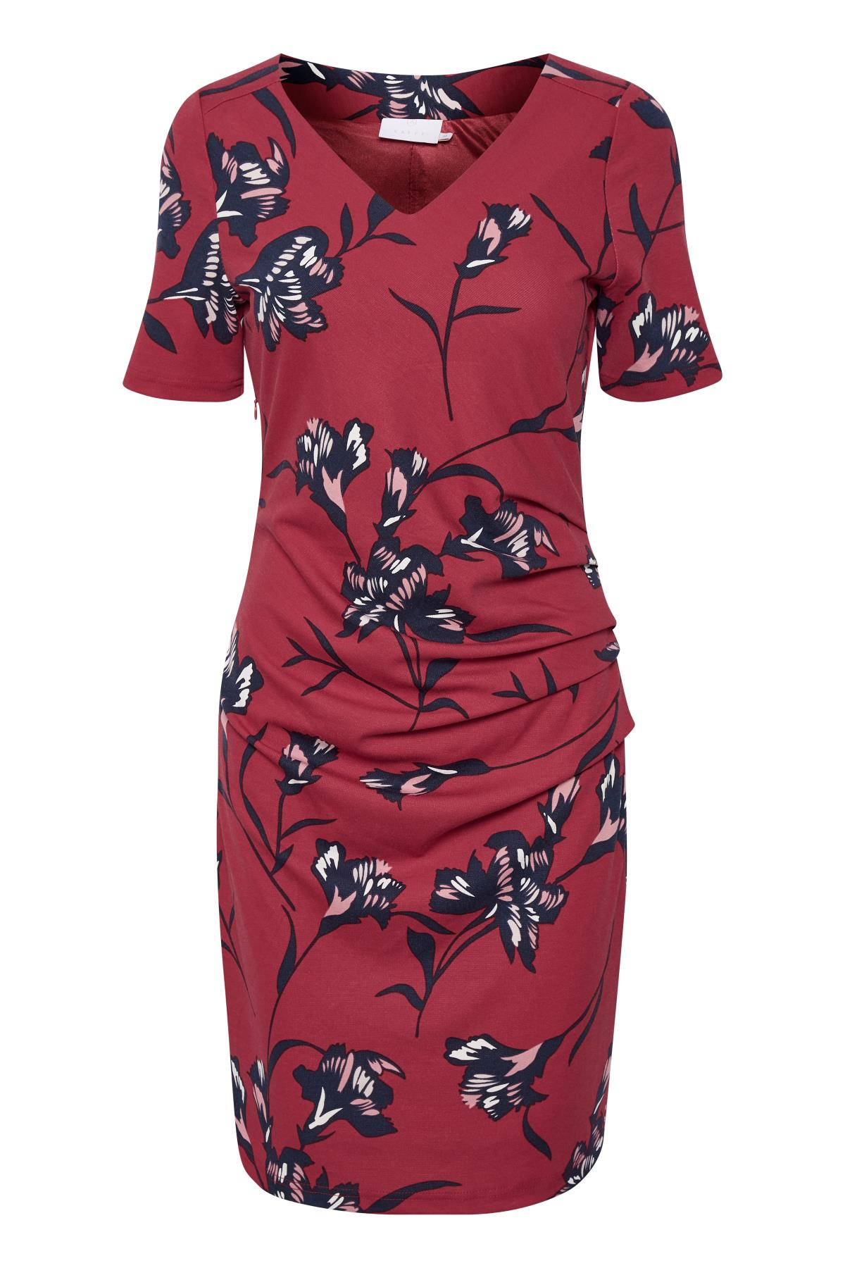 Kaffe Dame Smuk Bea India kjole - Rød/marineblå