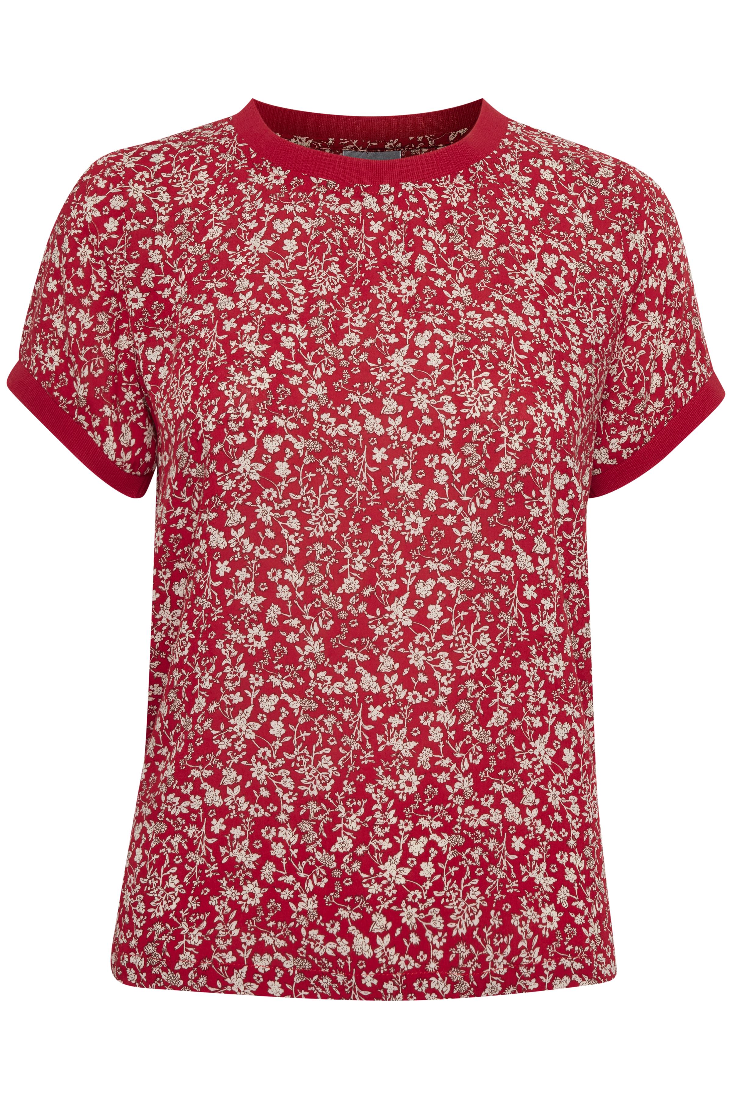 Rød/off-white Kortærmet bluse fra Fransa – Køb Rød/off-white Kortærmet bluse fra str. XS-XXL her