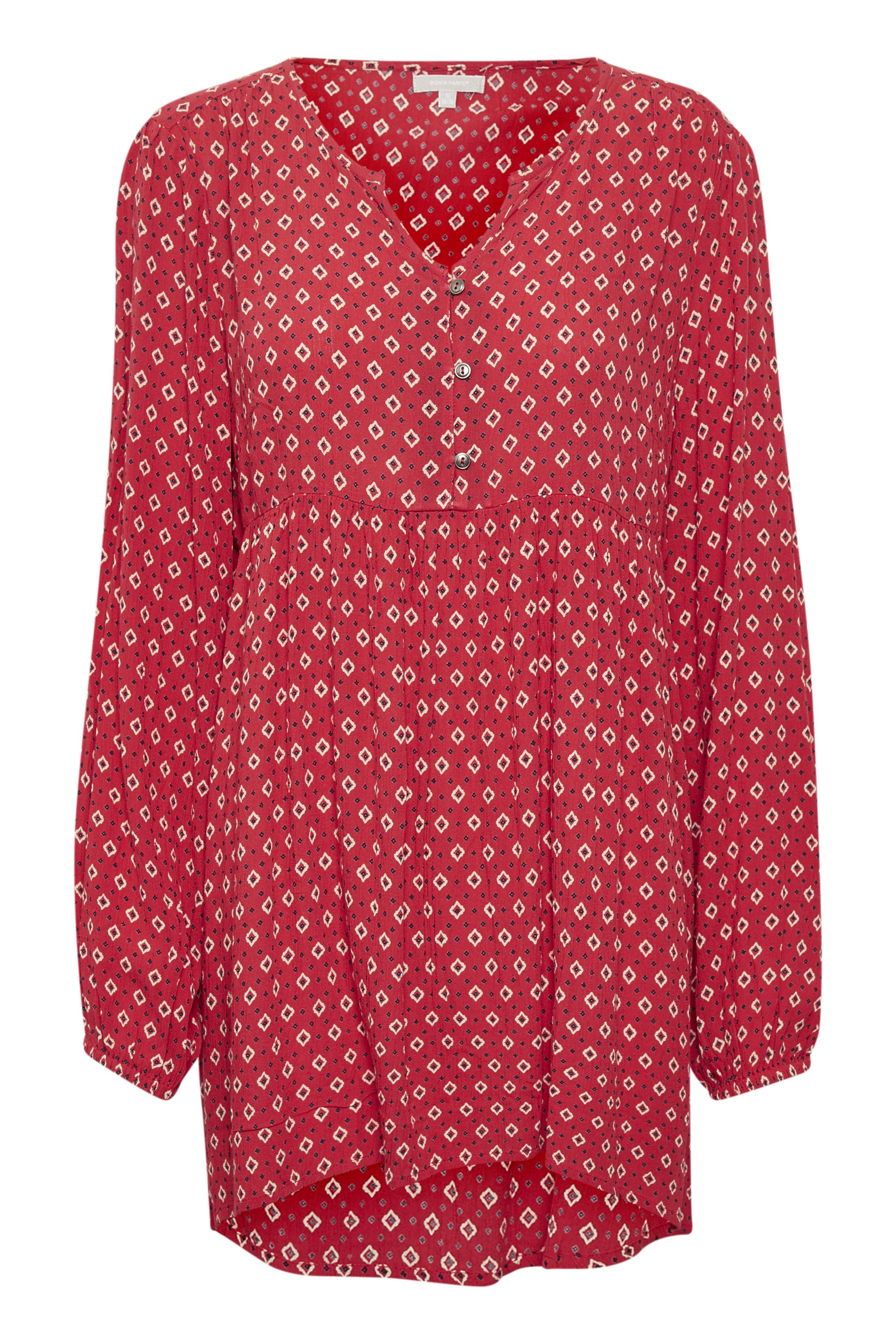 BonA Parte Dame BONA PARTE kjole med rund hals. Ærmer med albuelængde. All-over print. Kjolen - Rød/off-white