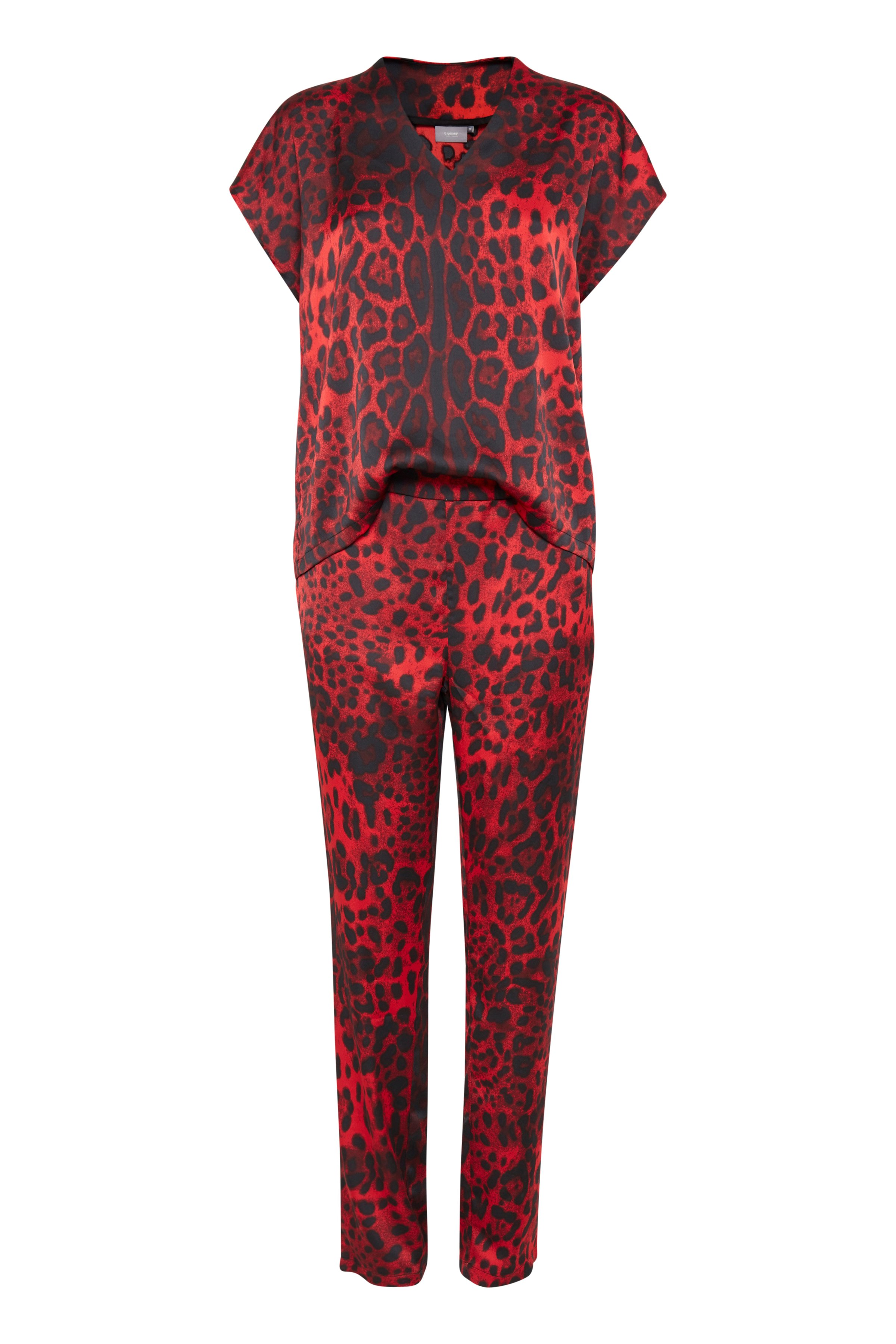 b.young Dame Letvævet jumpsuit - Rød/sort