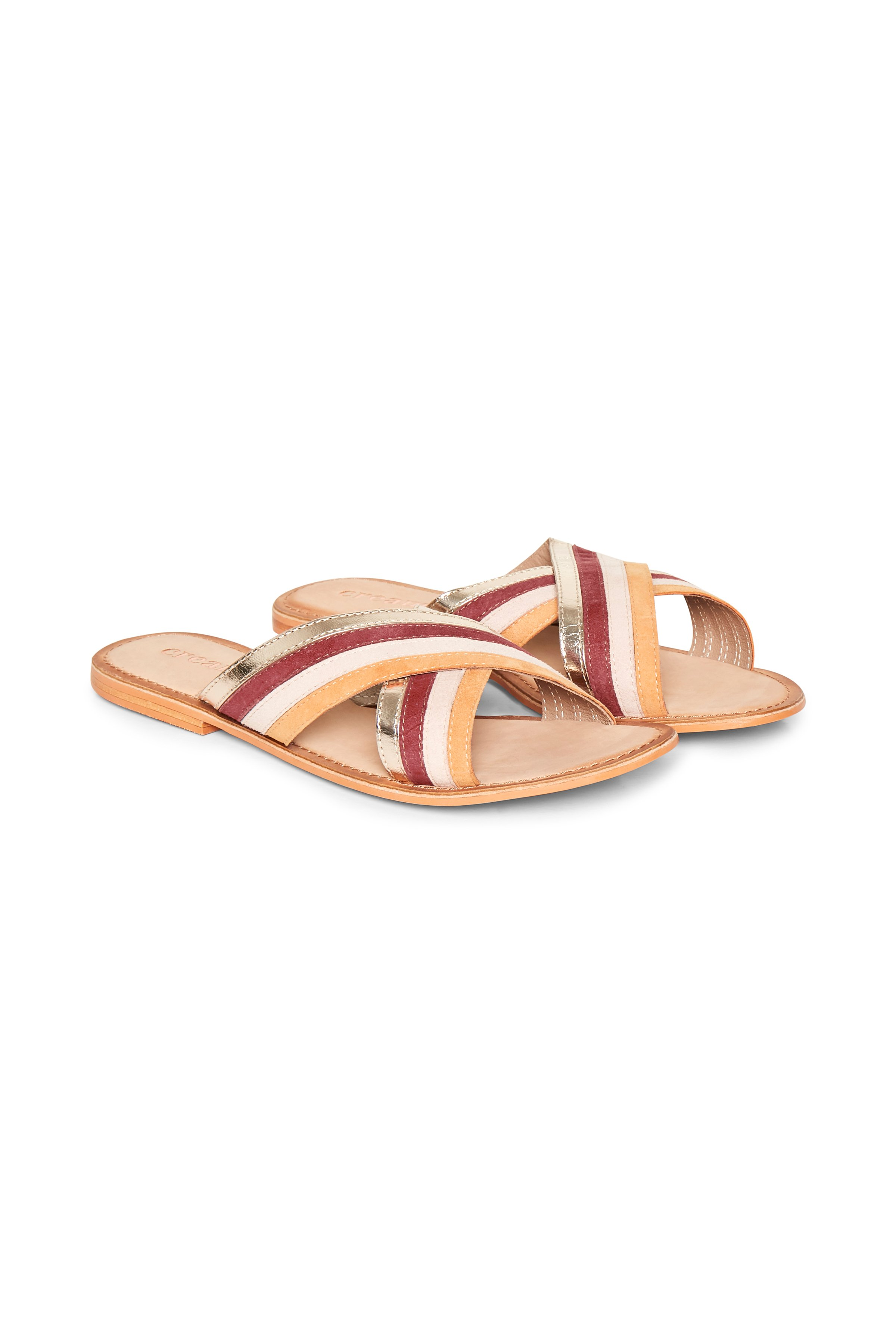 Cream Dame Slip-in sandal - Sand/mørkerød