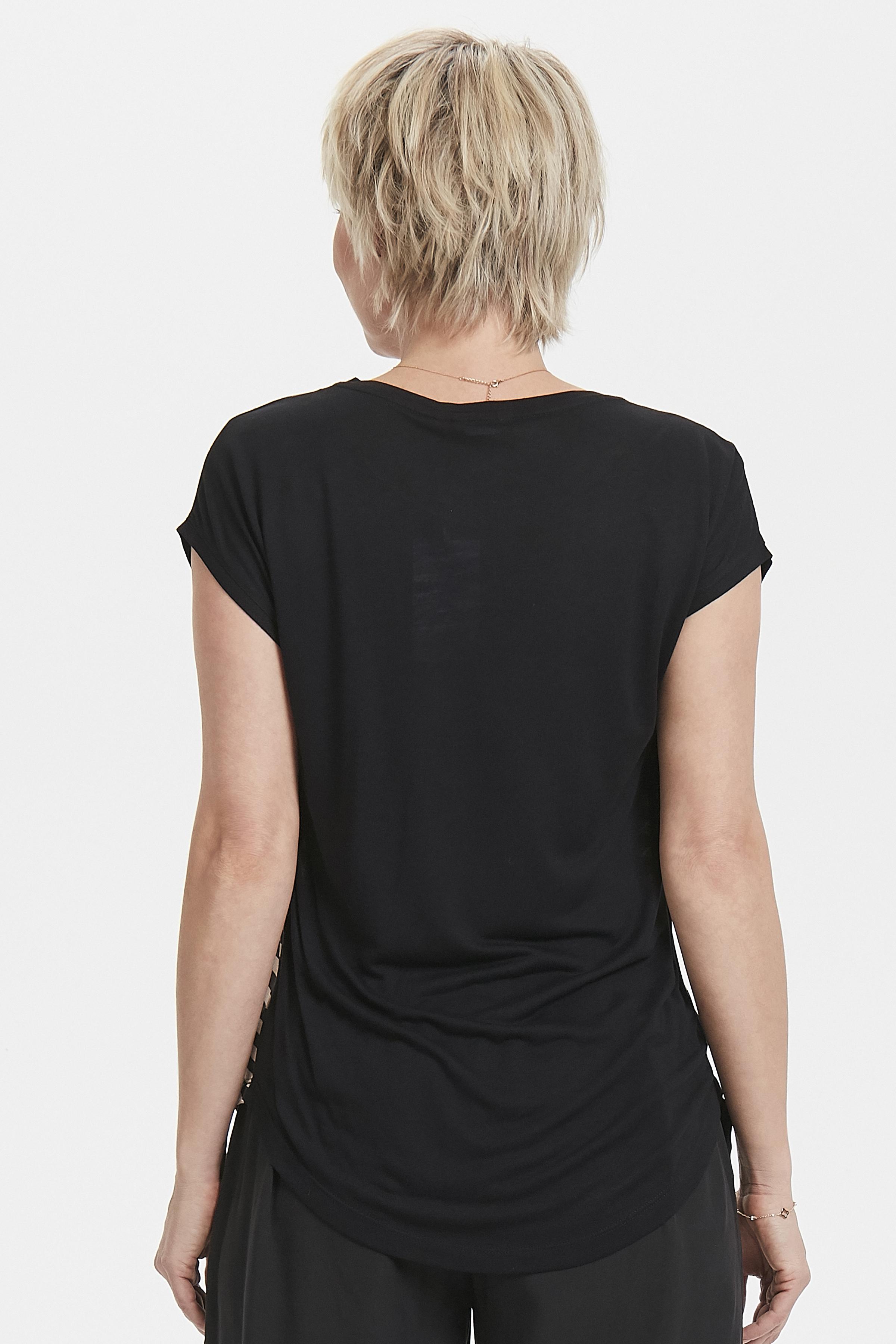 Sand/schwarz Kurzarm-Bluse von Bon'A Parte – Shoppen Sie Sand/schwarz Kurzarm-Bluse ab Gr. S-2XL hier