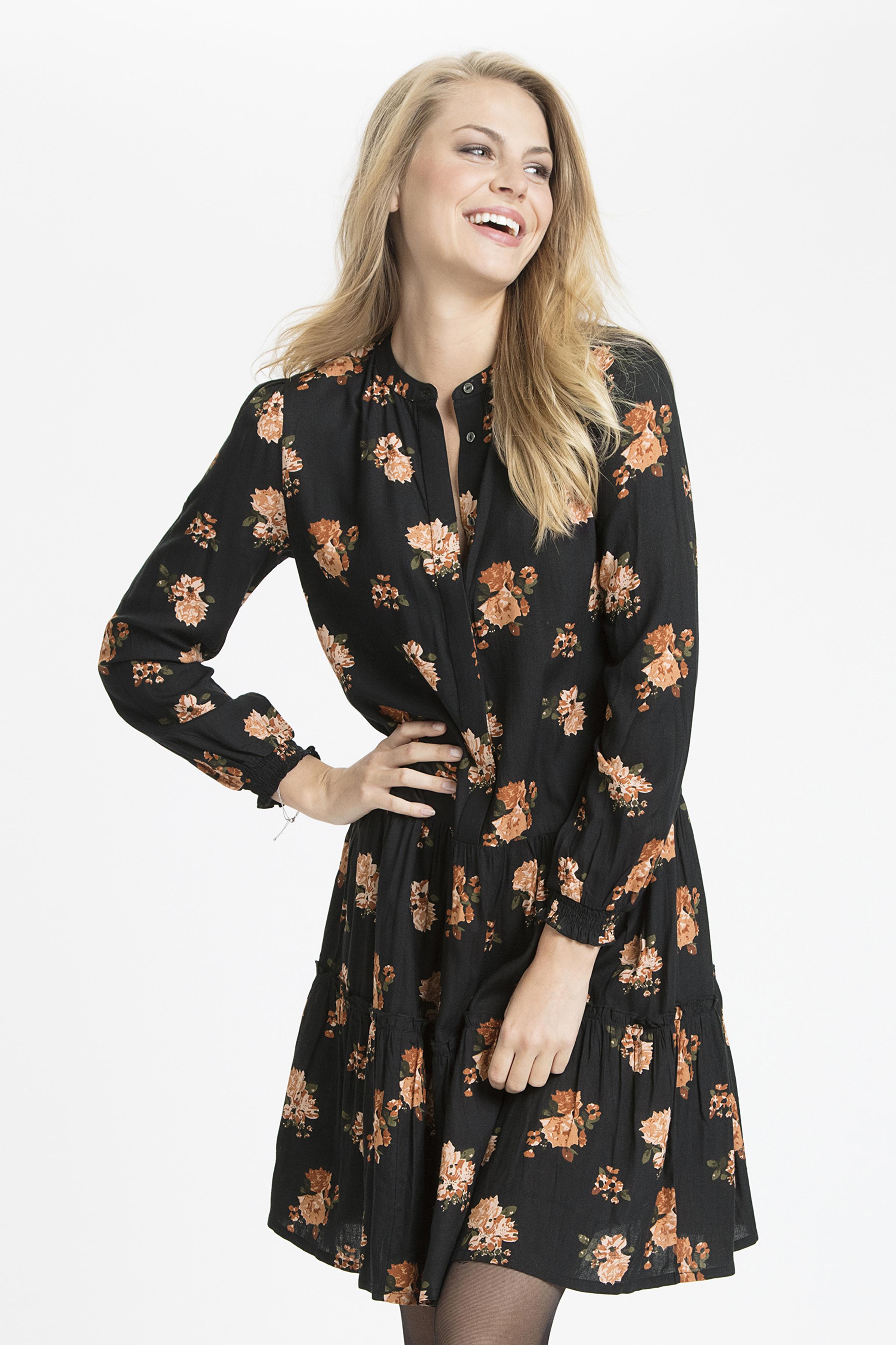 Schwarz/gebranntes orange Kleid von Bon'A Parte – Shoppen Sie Schwarz/gebranntes orange Kleid ab Gr. S-2XL hier