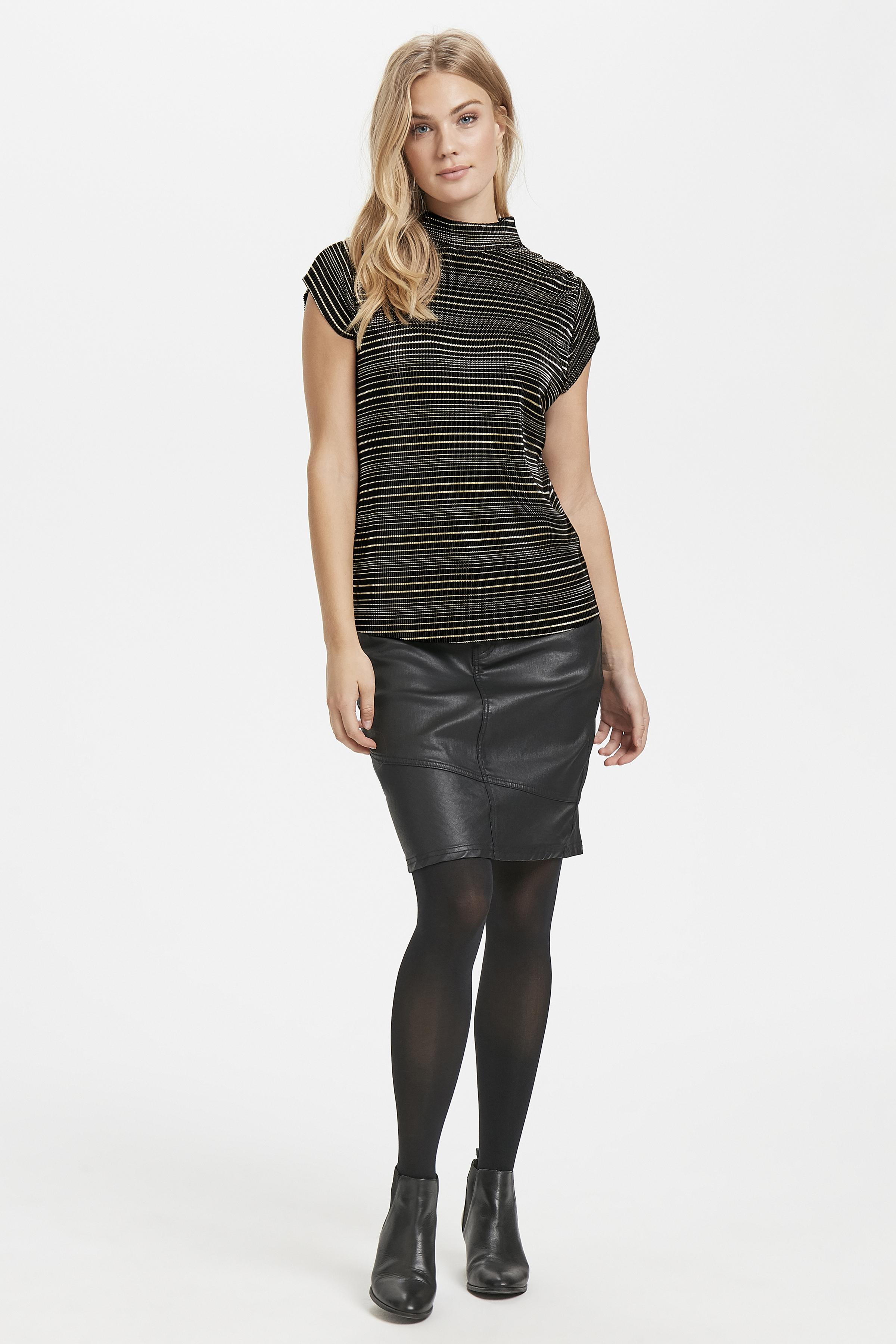 Schwarz/gold Kurzarm-Bluse von Dranella – Shoppen Sie Schwarz/gold Kurzarm-Bluse ab Gr. XS-XXL hier