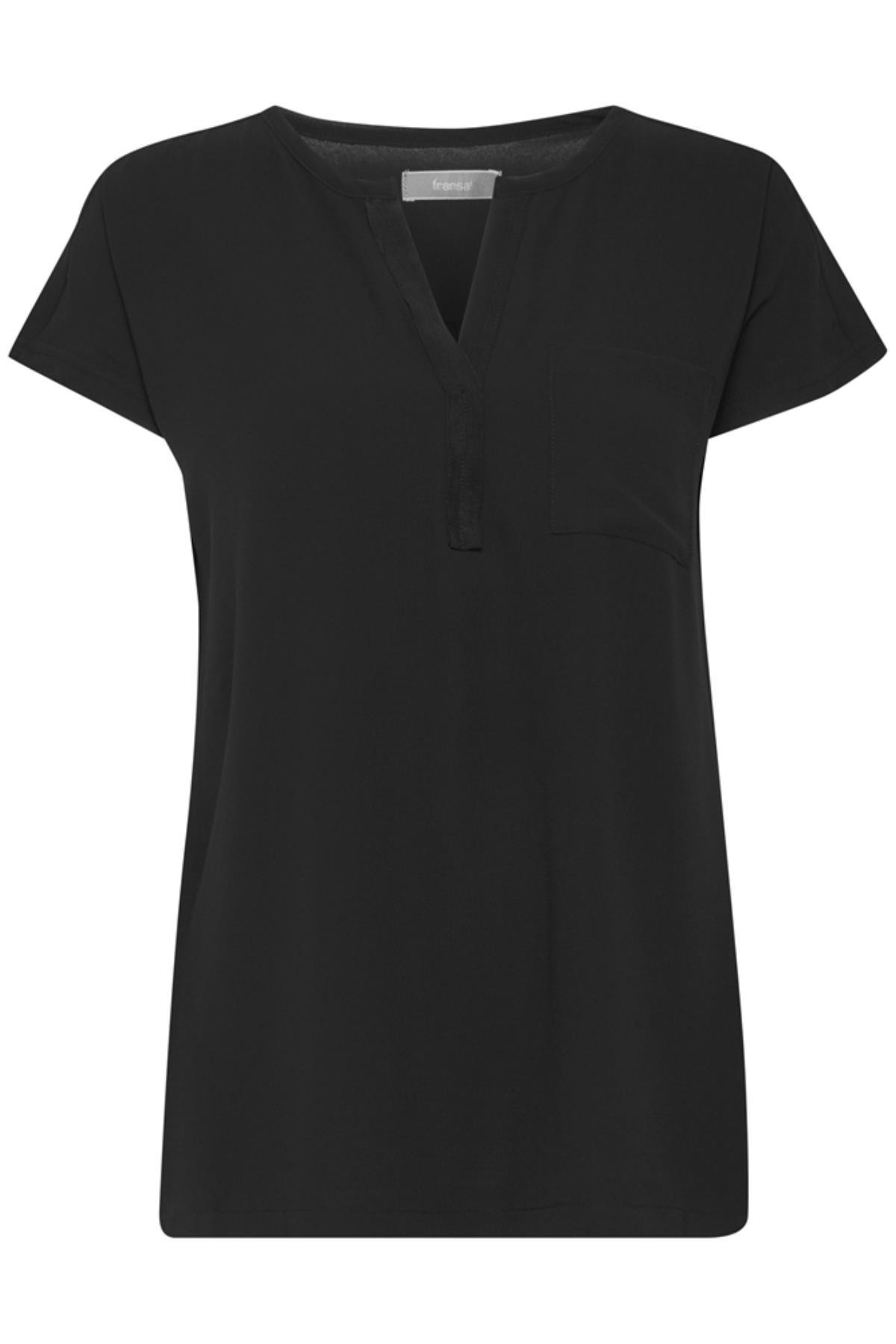Schwarz Kurzarm-Bluse von Fransa – Shoppen Sie Schwarz Kurzarm-Bluse ab Gr. XS-XXL hier