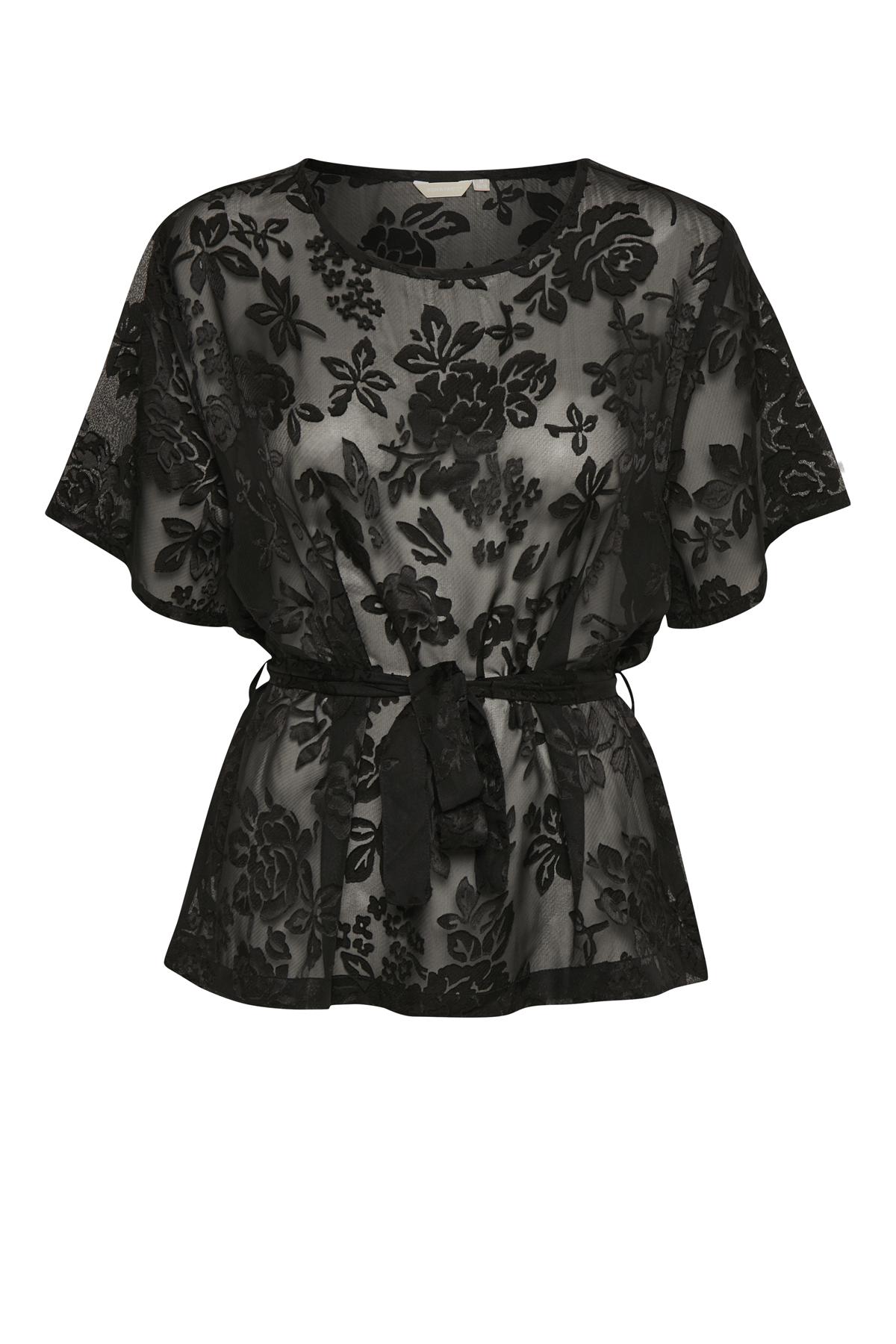Schwarz Kurzarm-Bluse  von Bon'A Parte – Shoppen Sie Schwarz Kurzarm-Bluse  ab Gr. S-2XL hier