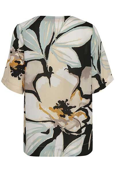 Schwarz/opalgrün Kurzarm-Bluse von Bon'A Parte – Shoppen Sie Schwarz/opalgrün Kurzarm-Bluse ab Gr. S-2XL hier