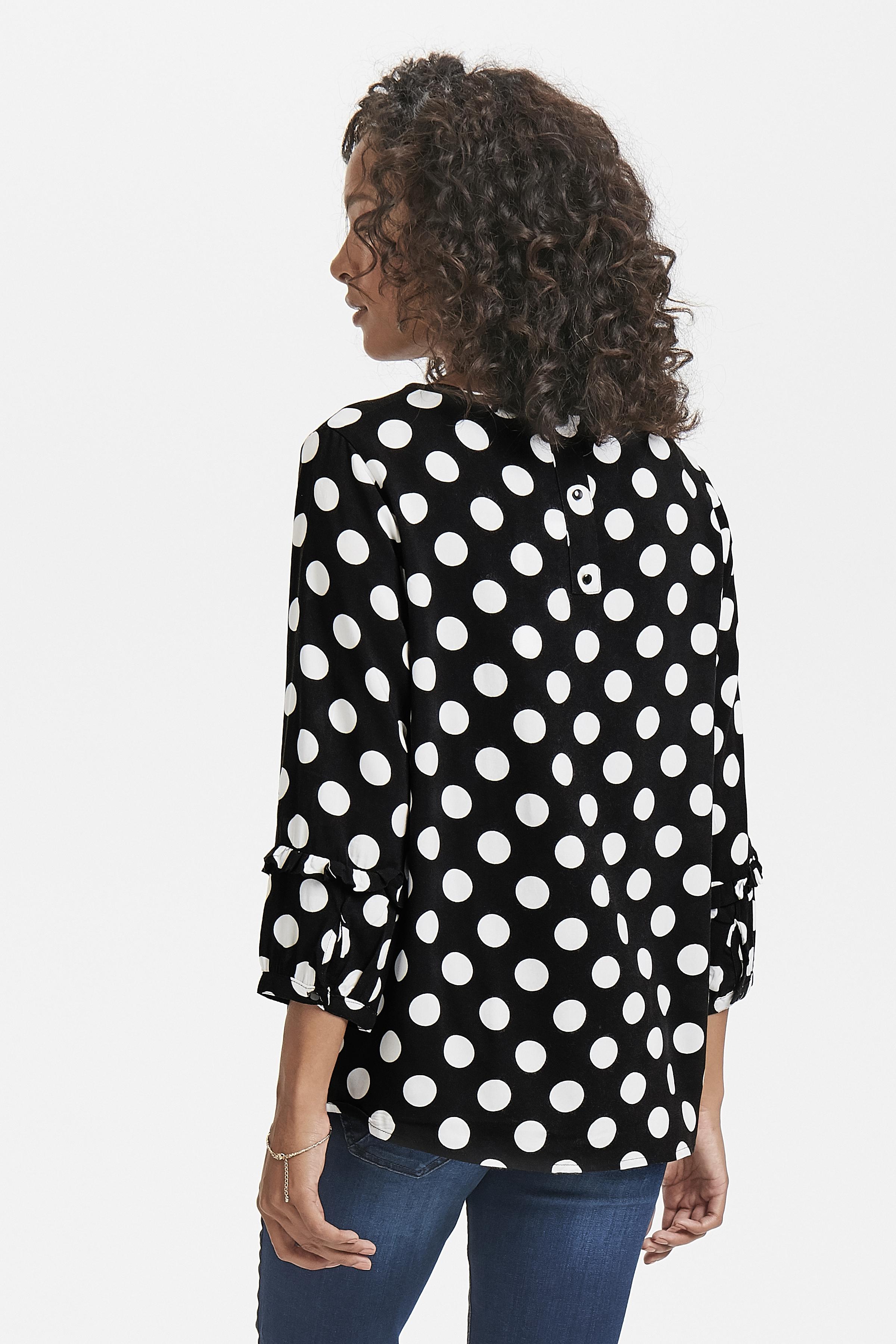Schwarz/wollweiß Kurzarm-Bluse von Fransa – Shoppen Sie Schwarz/wollweiß Kurzarm-Bluse ab Gr. XS-XXL hier