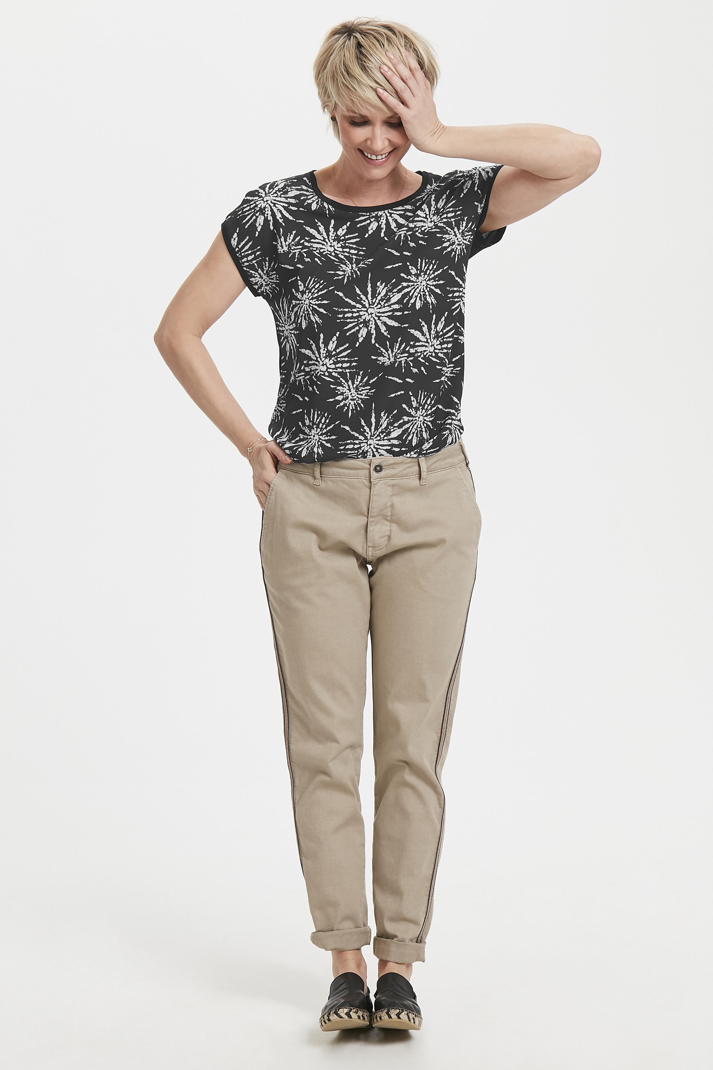 Schwarz/wollweiß Kurzarm-Bluse von Bon'A Parte – Shoppen Sie Schwarz/wollweiß Kurzarm-Bluse ab Gr. S-2XL hier