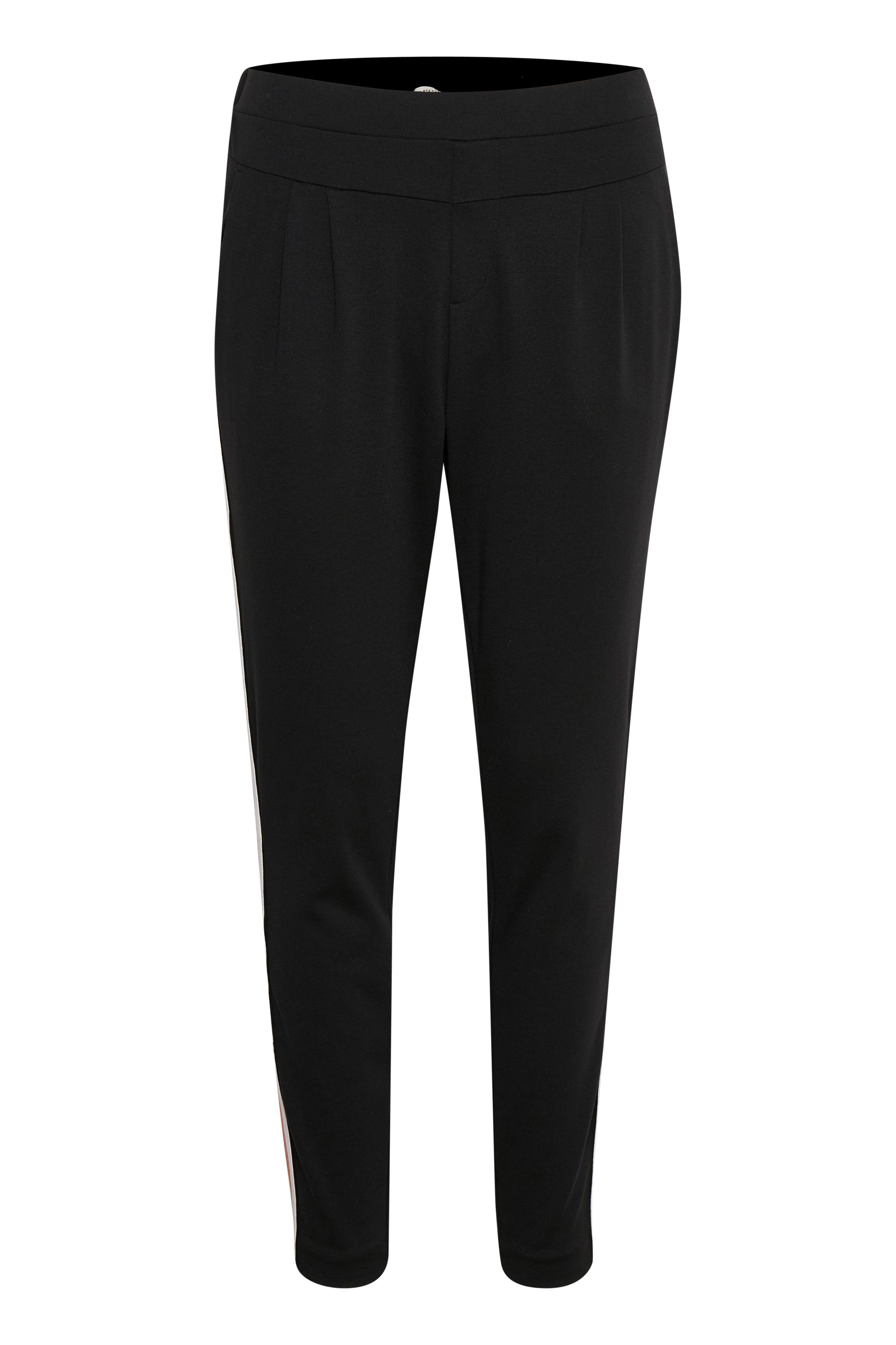 Cream Dame Cream bukser med fast linning foran og elastik bagpå. Bukserne  - Sort