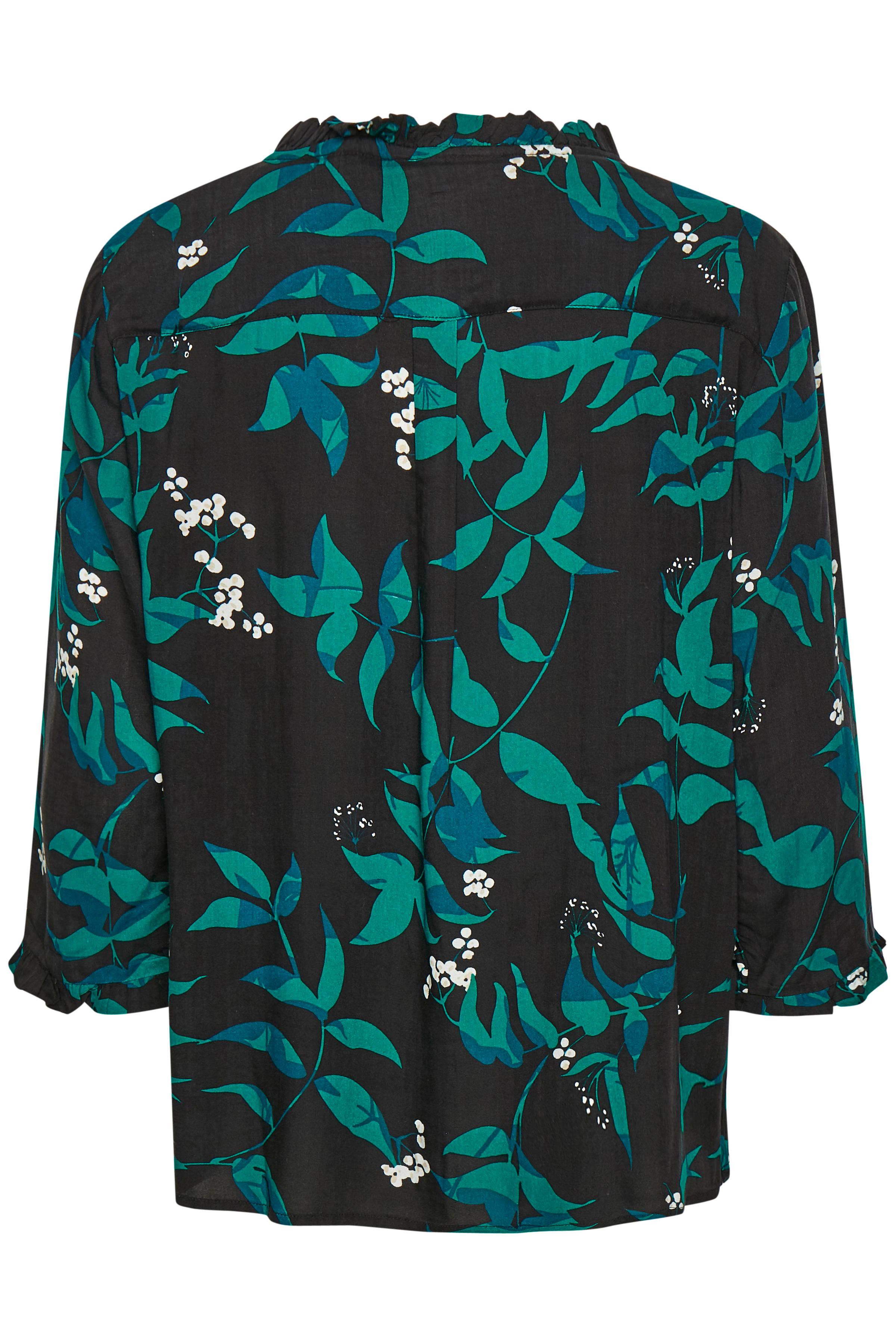 Sort/flaskegrøn Langærmet bluse fra Fransa – Køb Sort/flaskegrøn Langærmet bluse fra str. XS-XXL her
