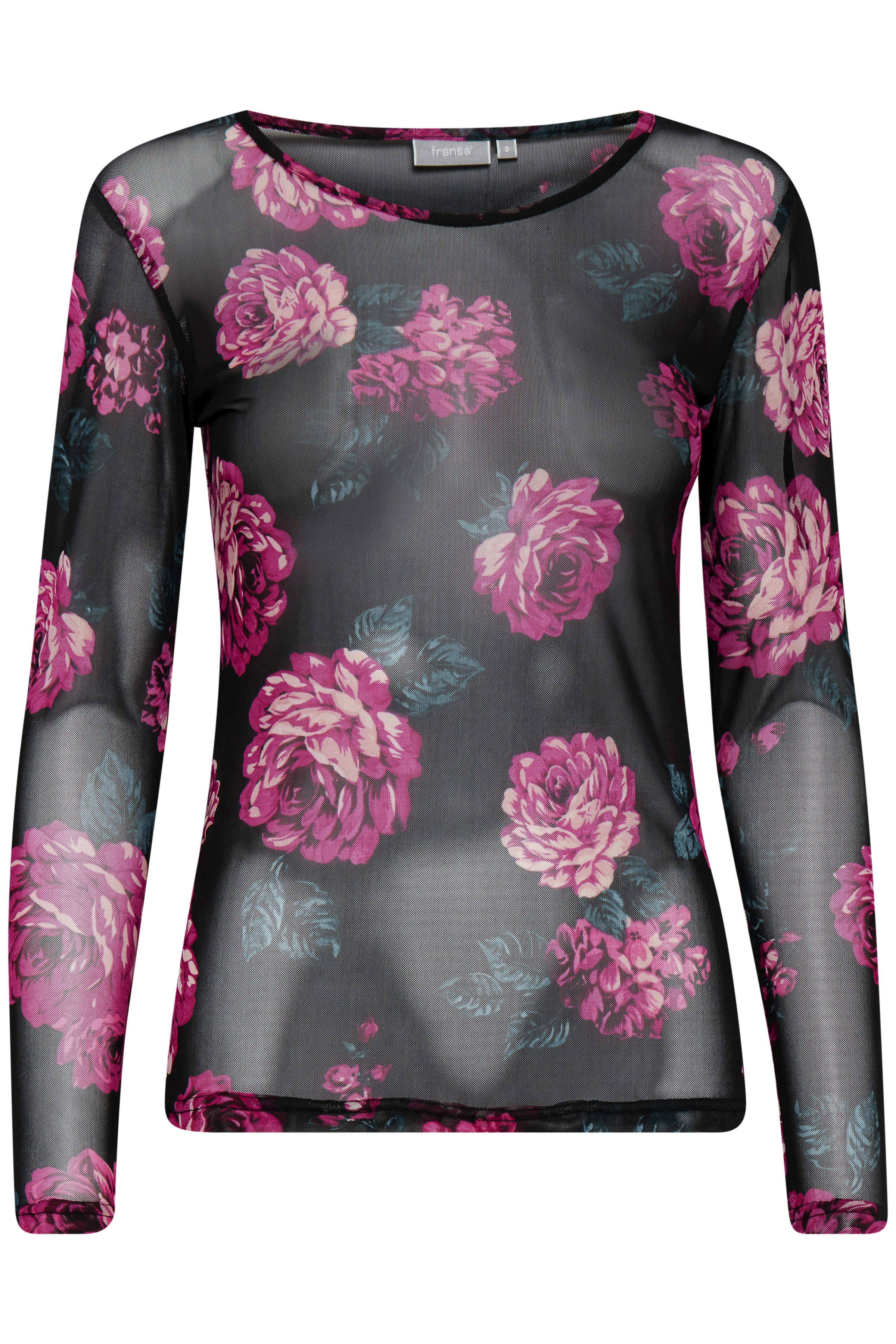 Sort/fuchsia Langærmet bluse fra Fransa – Køb Sort/fuchsia Langærmet bluse fra str. XS-XXL her