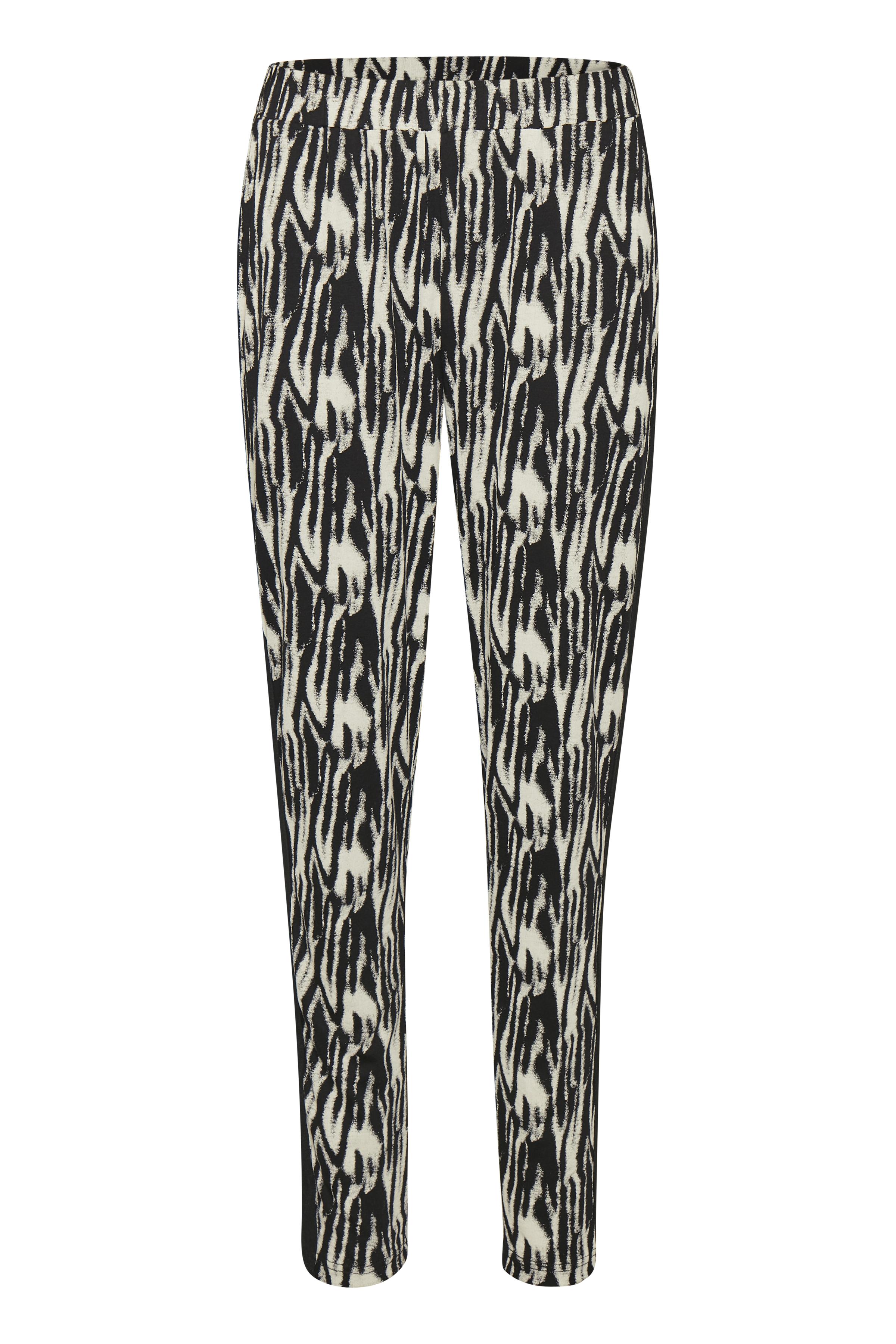 Image of BonA Parte Dame Jerseybuks med elastik i taljen. Sidelommer. Printet jerseykvalitet. Bukserne - Sort/grå
