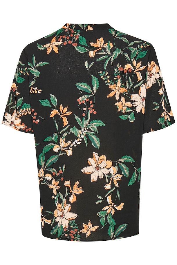 54a0a5bfb2e3 Sort grøn Kortærmet bluse fra b.young – Køb Sort grøn Kortærmet bluse fra  str. 34-46 her