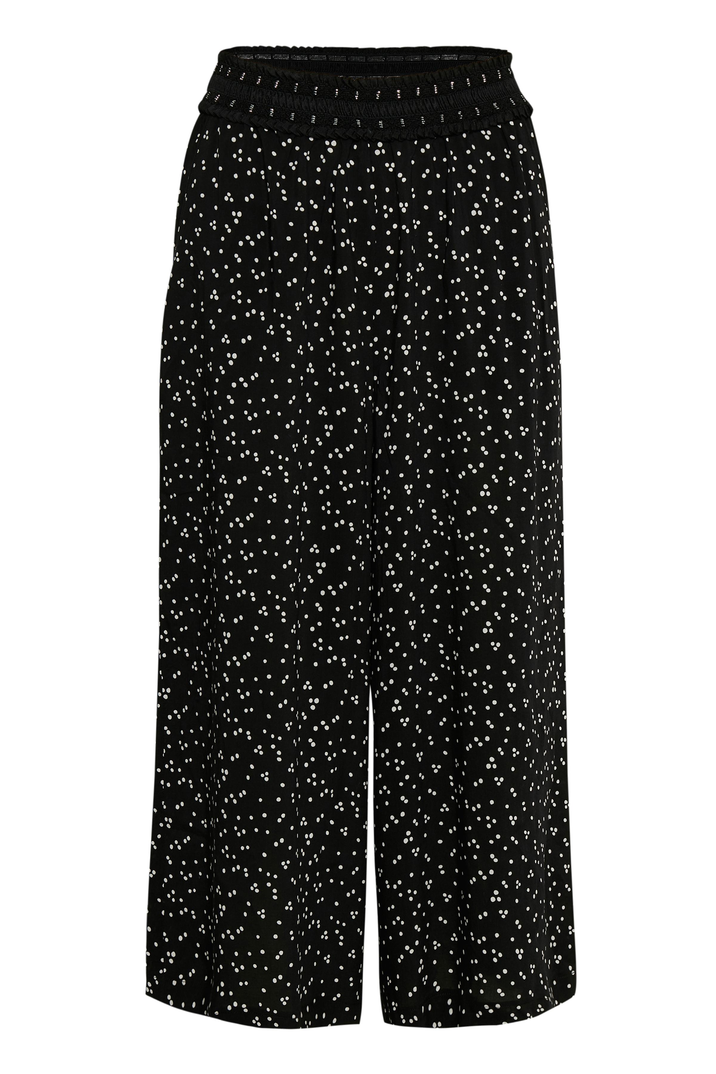 Image of Culture Dame CULTURE culotte bukser med elastik i taljen og brede ben. Bukser - Sort/hvid