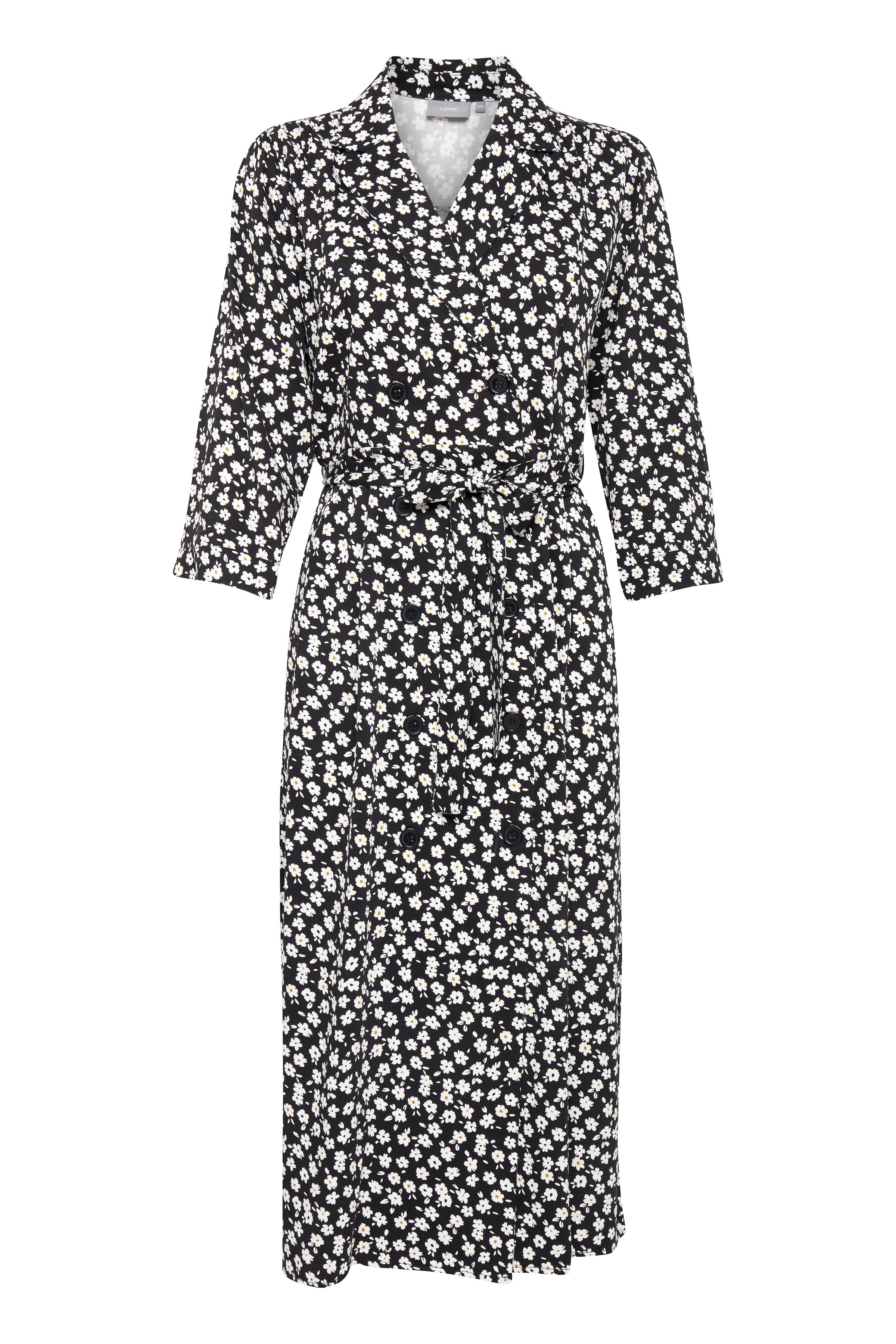 b.young Dame Dobbeltradet kjole - Sort/hvid