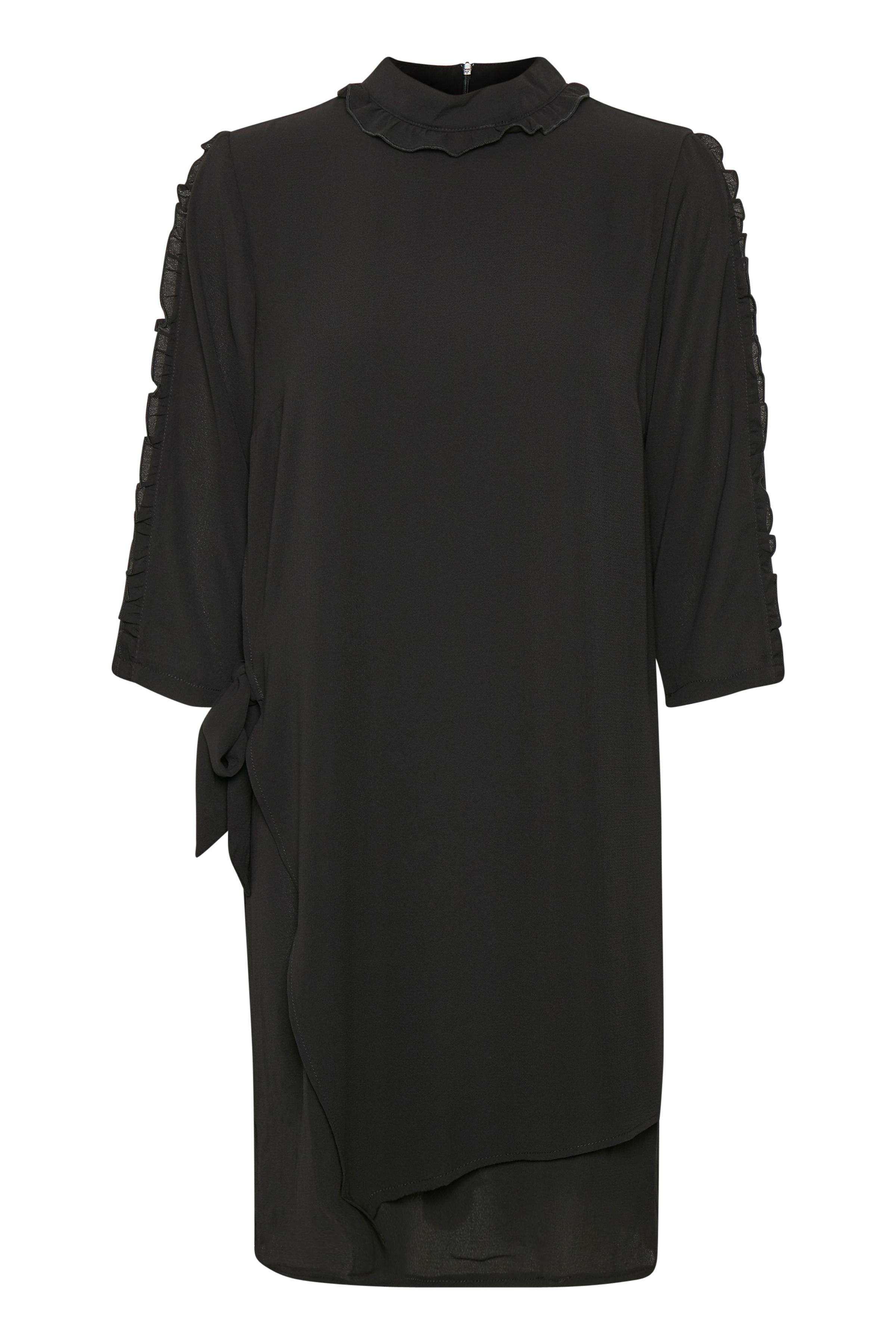Kaffe Dame KAFFE kjole med slå-om effekt foran. Kjolen - Sort