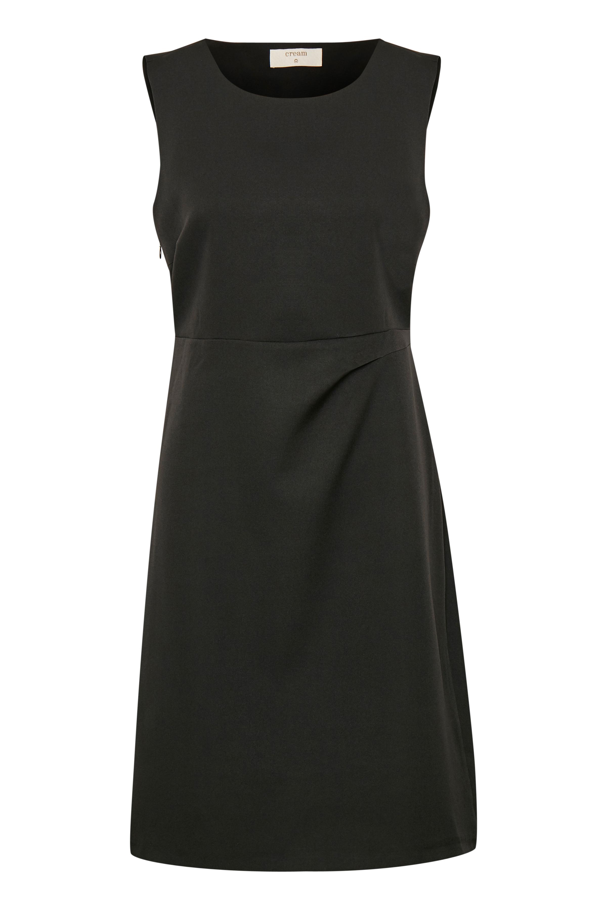 Cream Dame Letvævet kjole - Sort