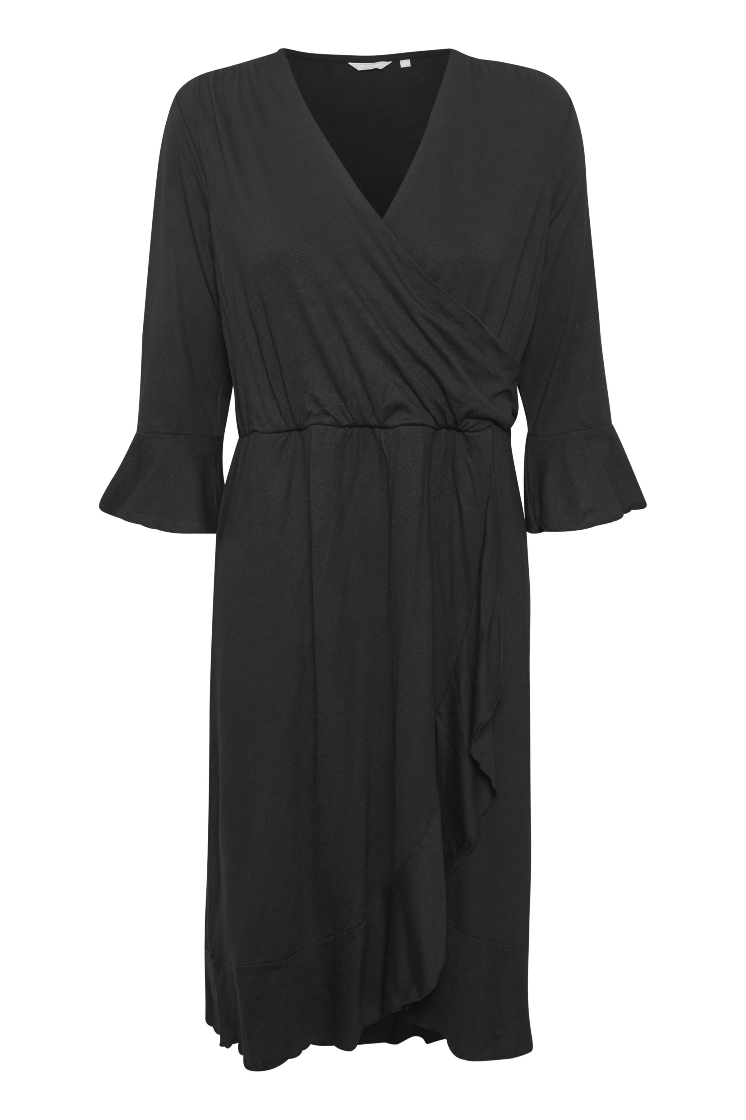 BonA Parte Dame BONA PARTE kjole med V-hals. 3/4-ærmer med flæse. Overskæring i taljen. Flæse forneden. Kjolen - Sort