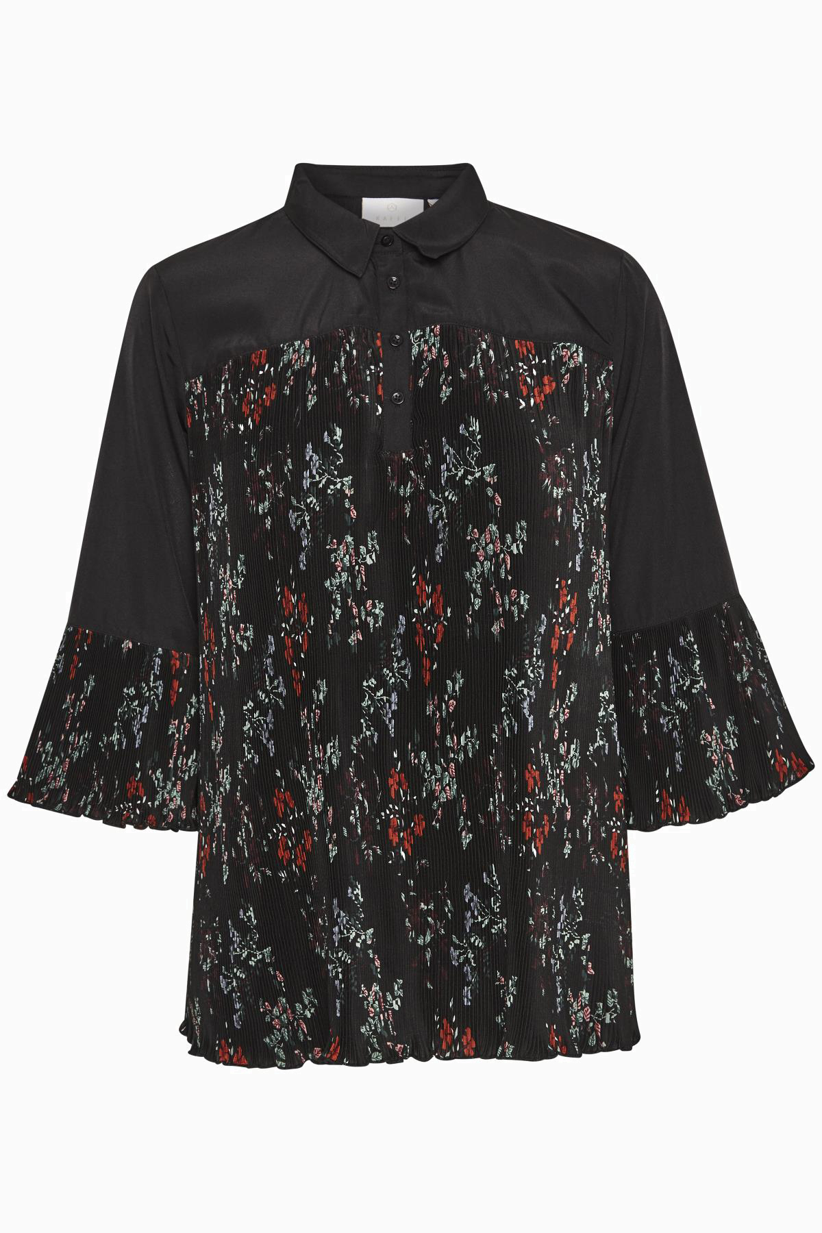 Image of Kaffe Dame Super smart Tonya bluse - Sort/koral