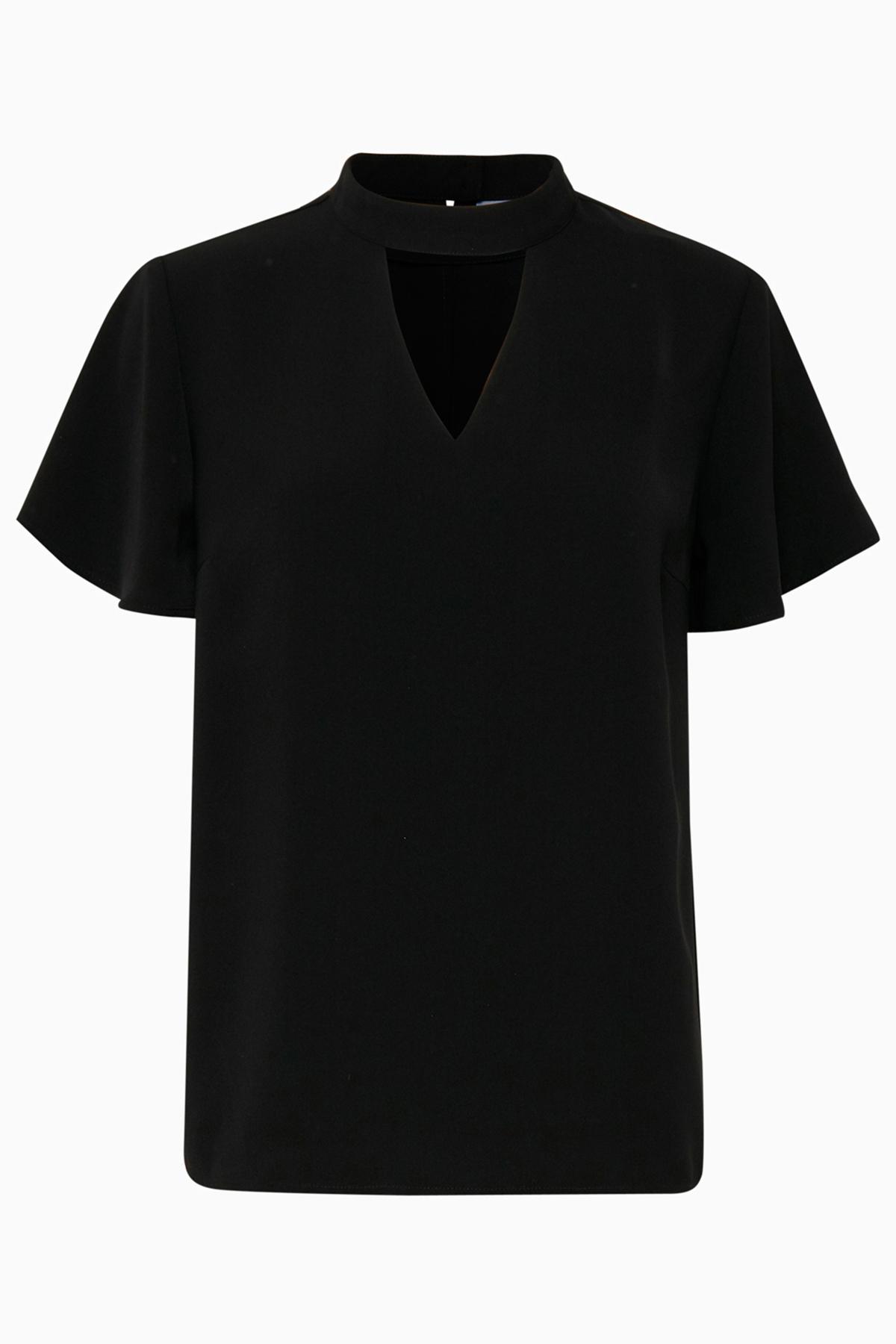 Sort Kortærmet bluse  fra b.young – Køb Sort Kortærmet bluse  fra str. 34-46 her