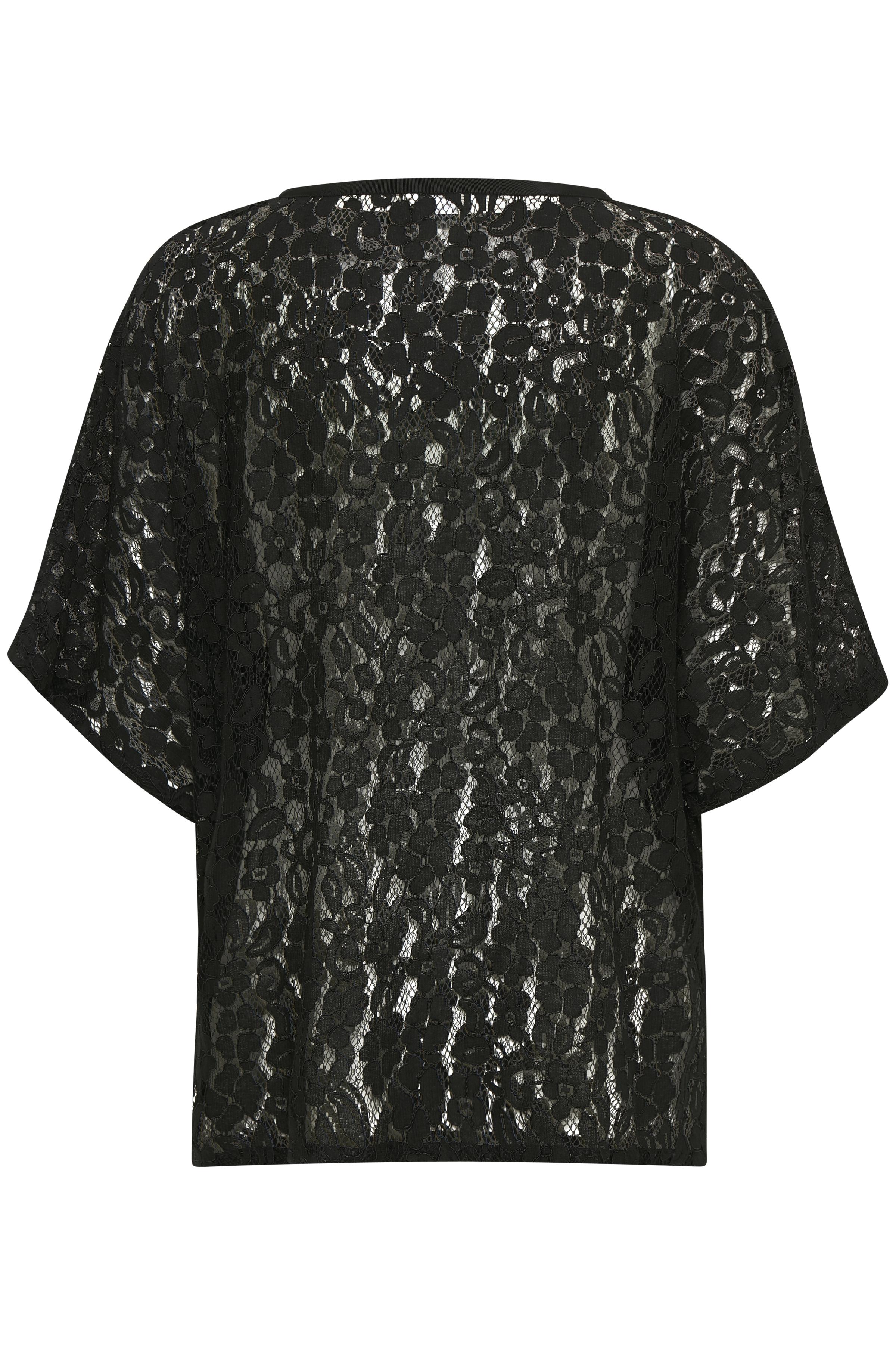Sort Kortærmet bluse  fra Bon'A Parte – Køb Sort Kortærmet bluse  fra str. S-2XL her