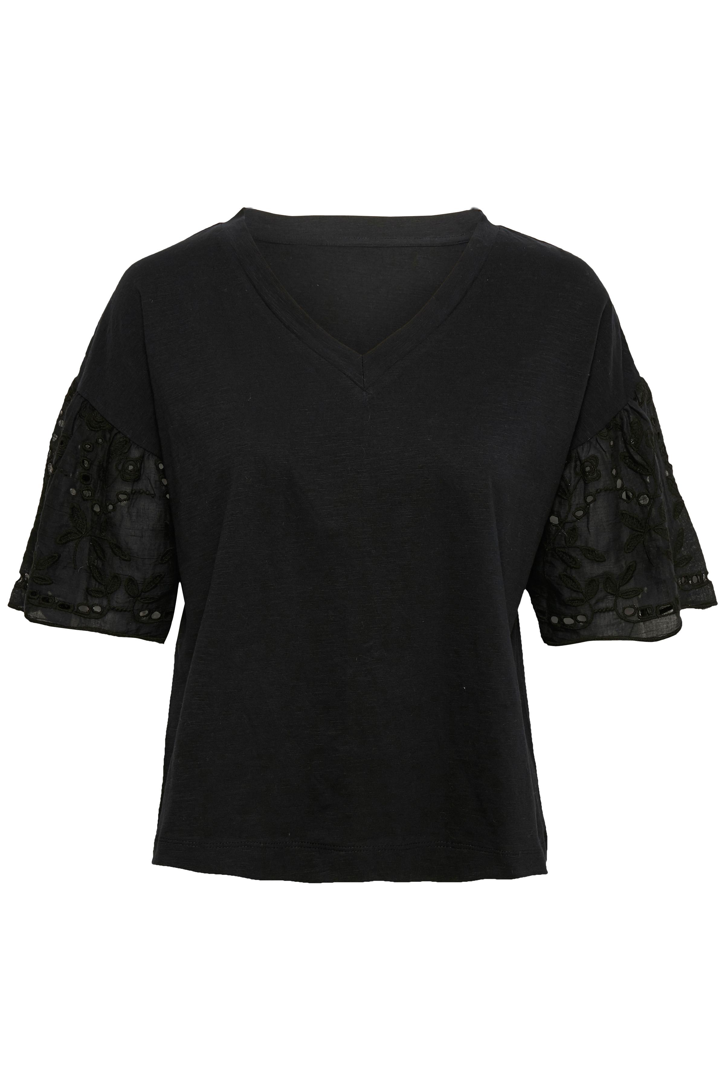 Image of Cream Dame Lili T-shirt med korte blonde ærmer og V-hals - Sort