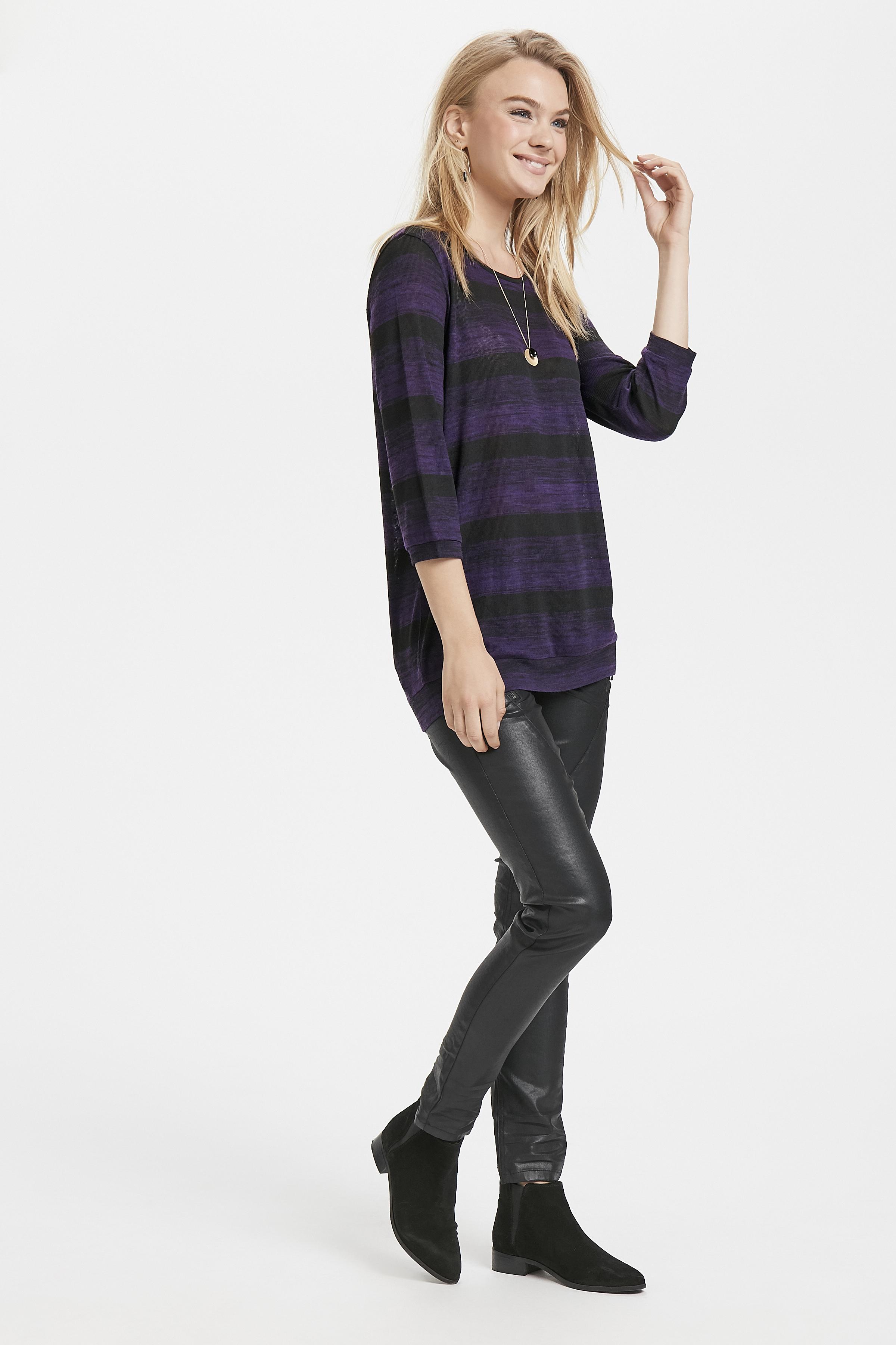 Sort/lilla Kortærmet bluse  fra Fransa – Køb Sort/lilla Kortærmet bluse  fra str. XS-XXL her