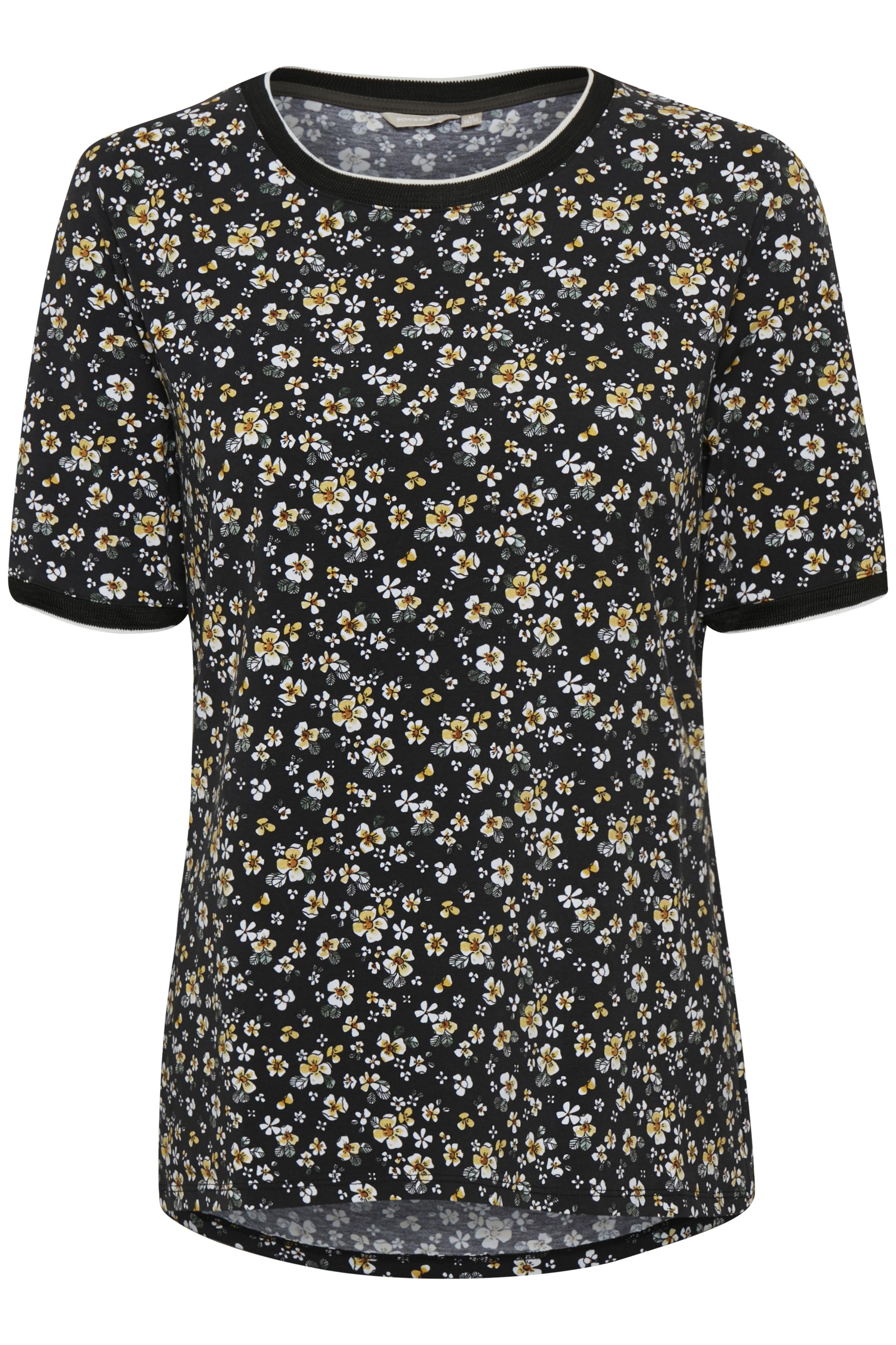 Image of BonA Parte Dame T-shirt - Sort/lys gul