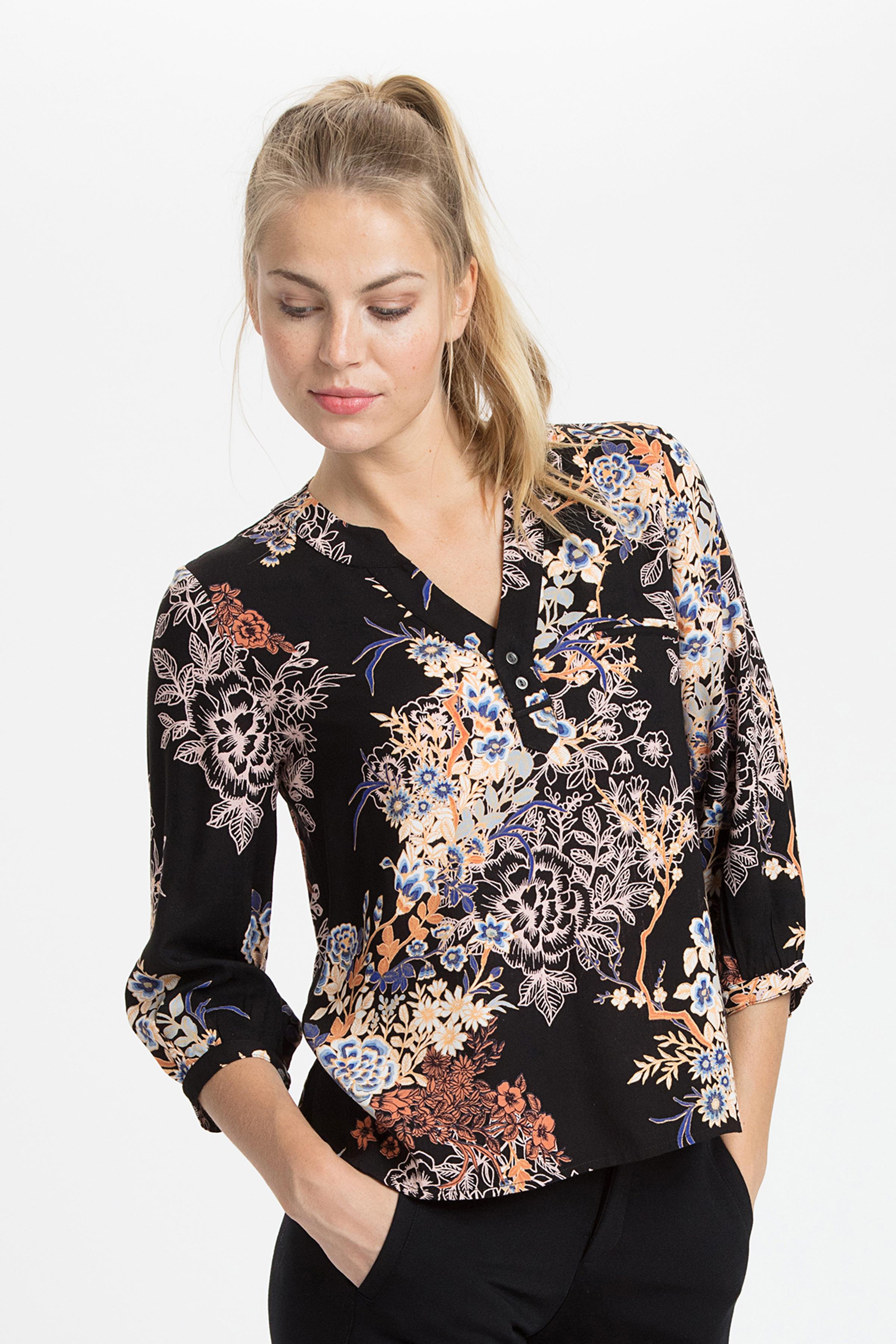 Sort/lys orange Kortærmet bluse fra Fransa – Køb Sort/lys orange Kortærmet bluse fra str. XS-XXL her
