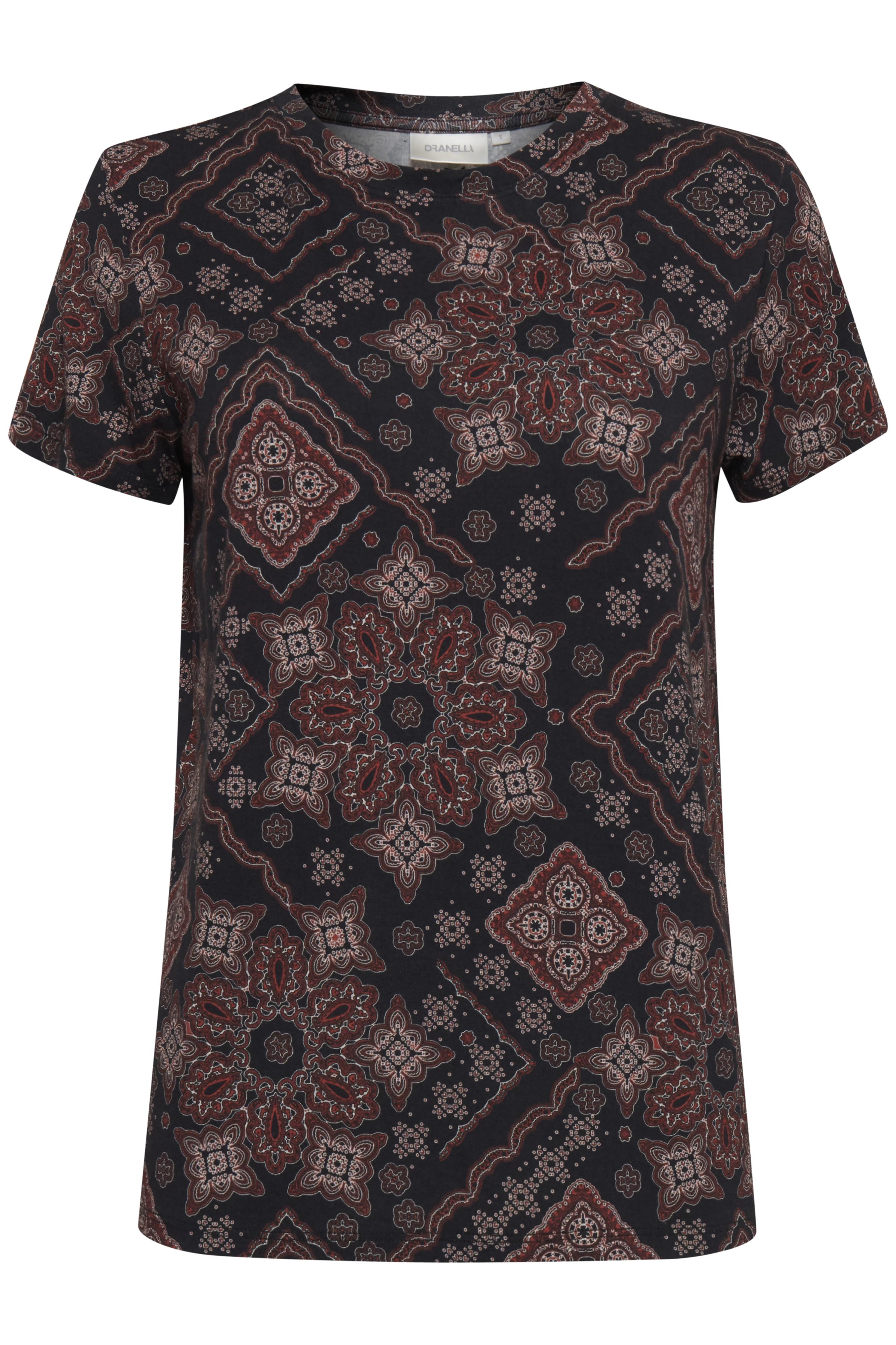 Image of Dranella Dame T-shirt - Sort/mørkerød