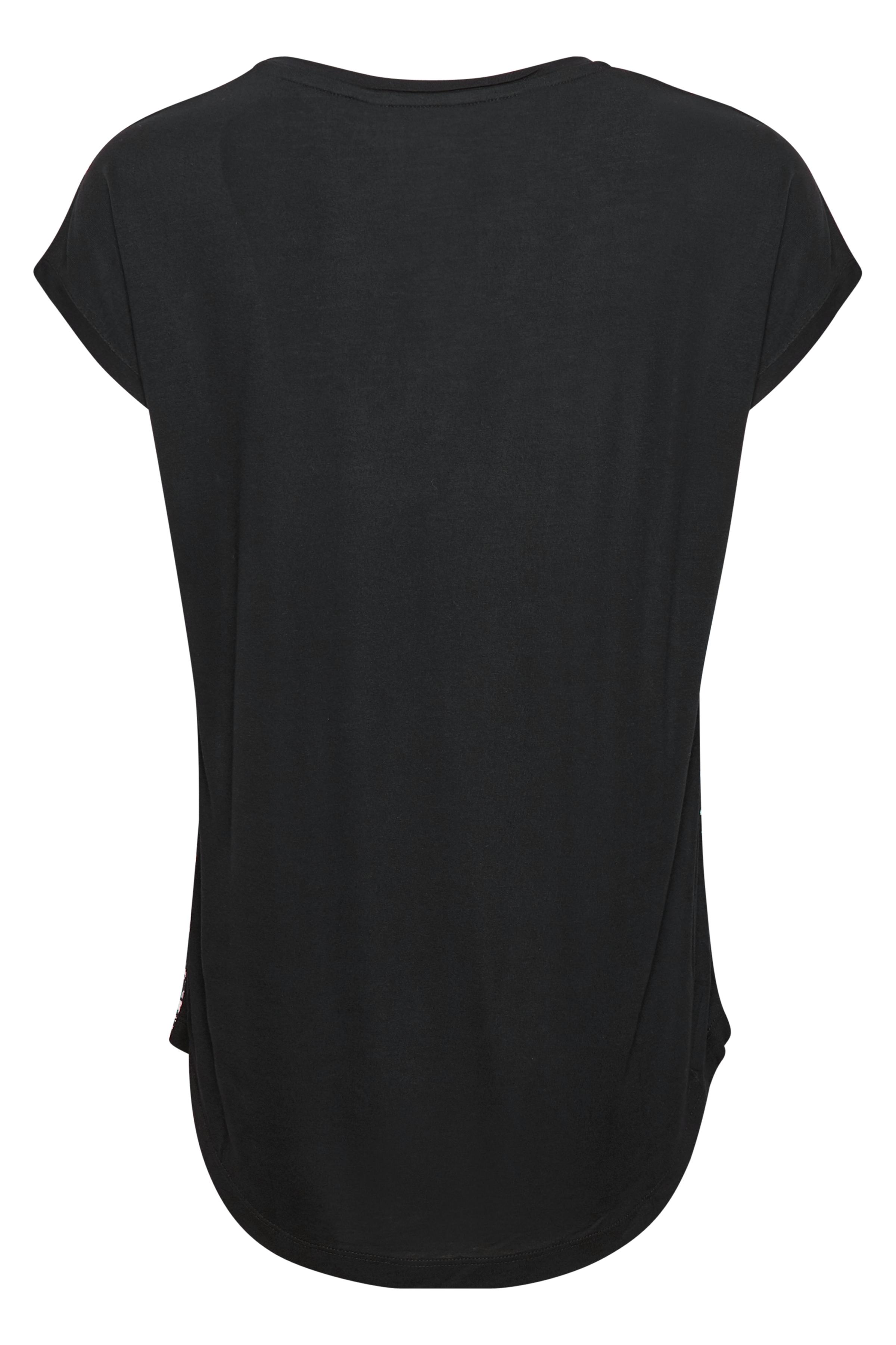 Sort/off-white Kortærmet bluse fra Bon'A Parte – Køb Sort/off-white Kortærmet bluse fra str. S-2XL her
