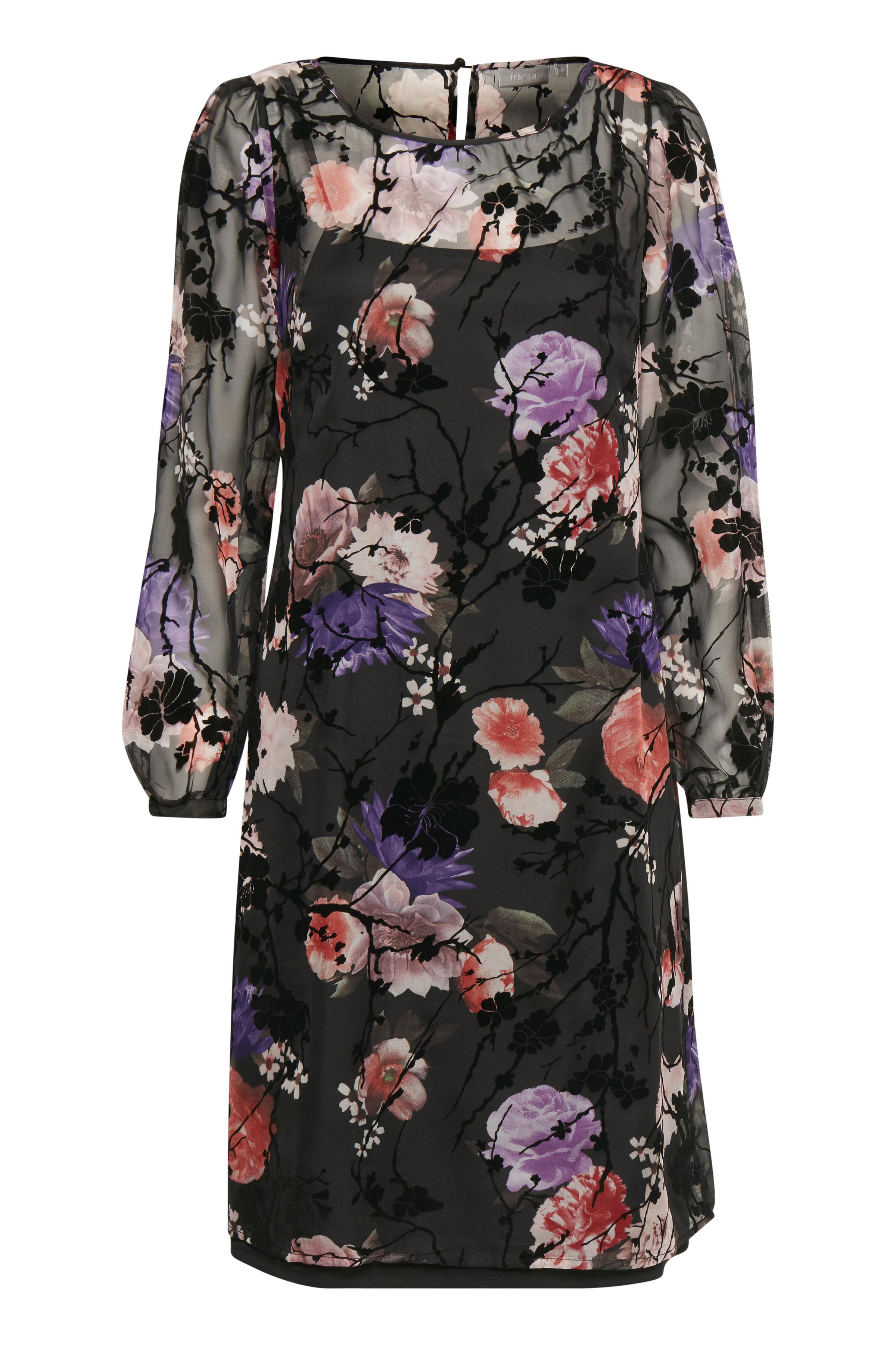 Fransa Dame Letvævet, let transparent chiffon kjole - Sort/rød