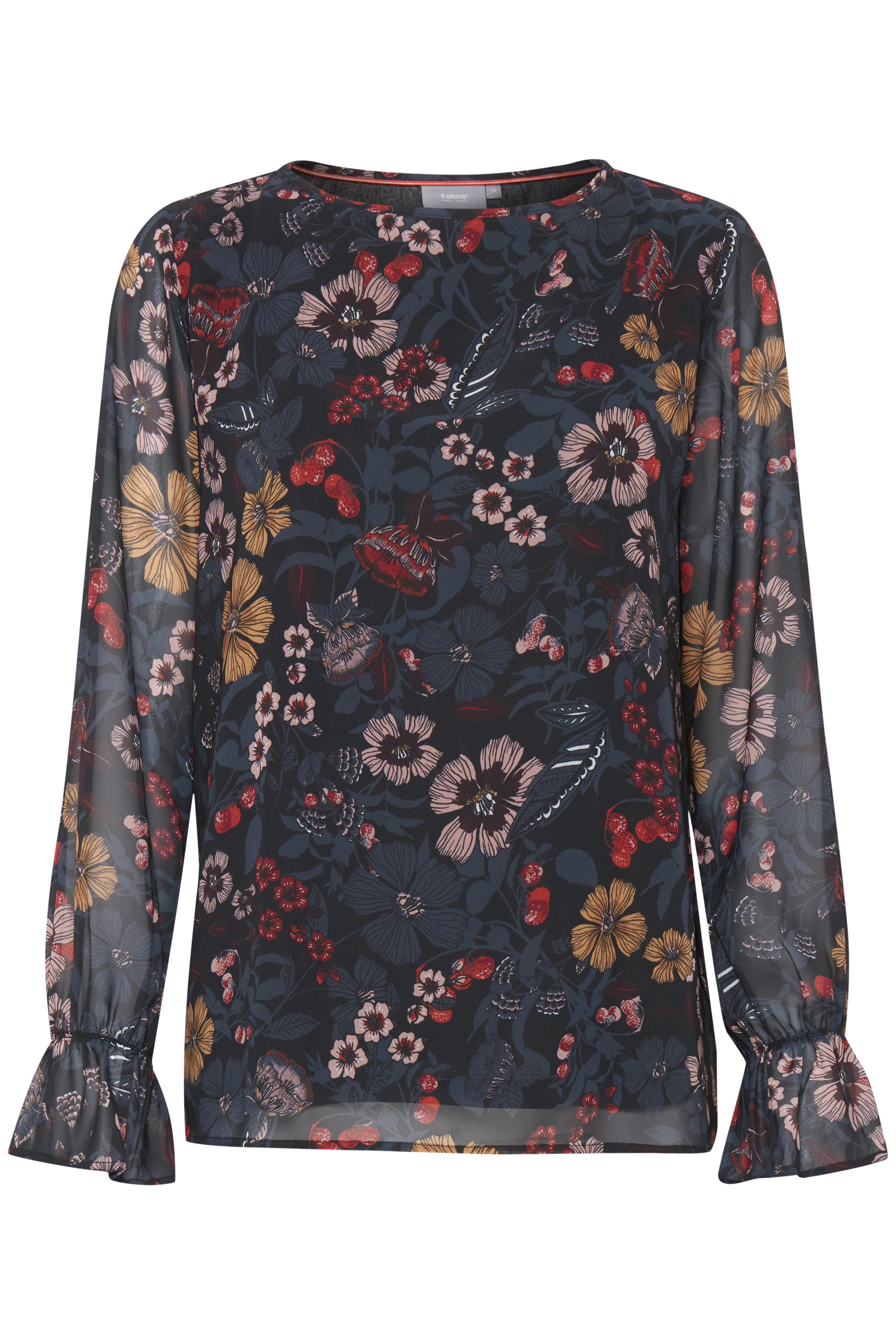 Sort/rød Langærmet bluse fra b.young – Køb Sort/rød Langærmet bluse fra str. 34-46 her