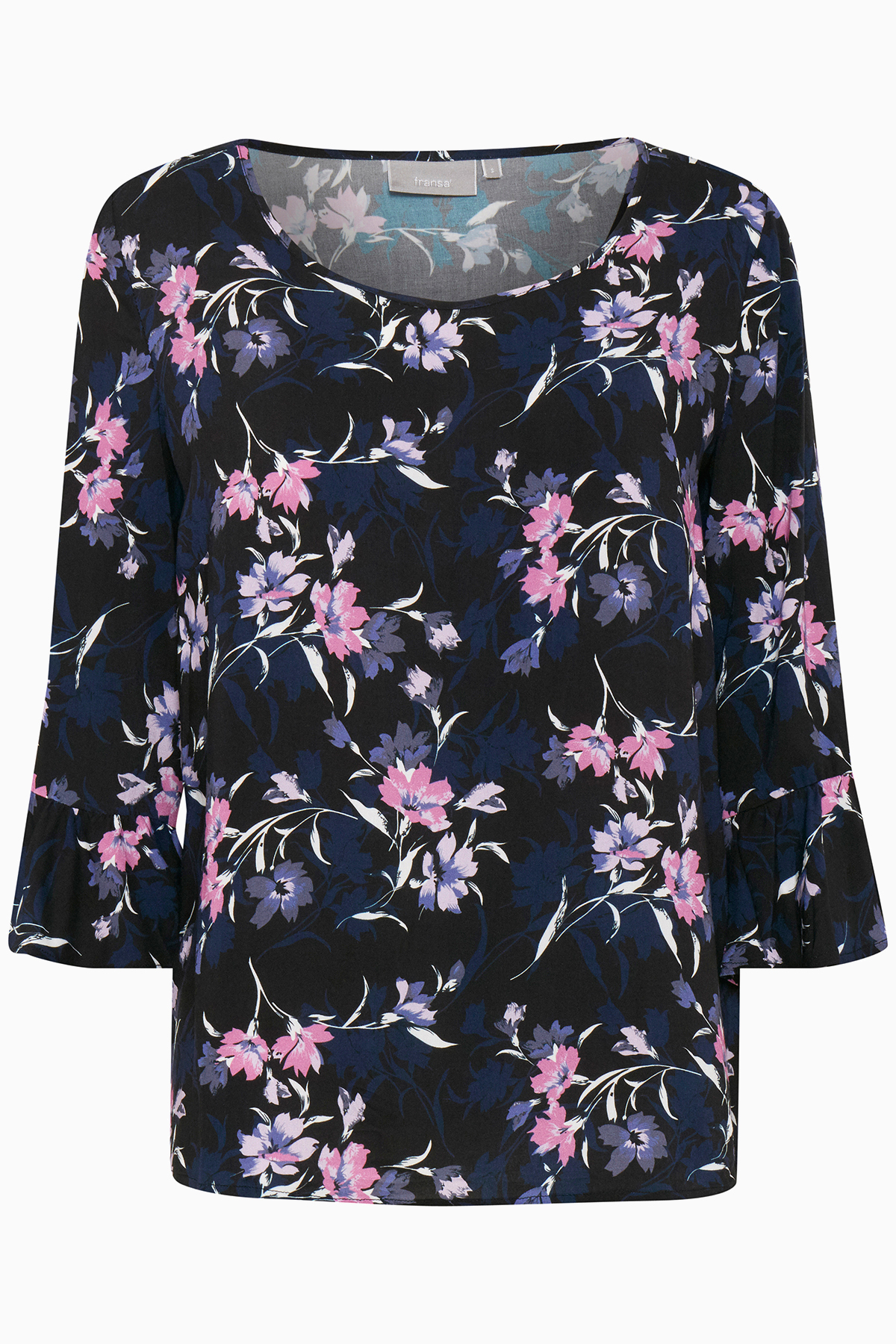 Image of Fransa Dame Super fin Nashadow bluse - Sort/rosa