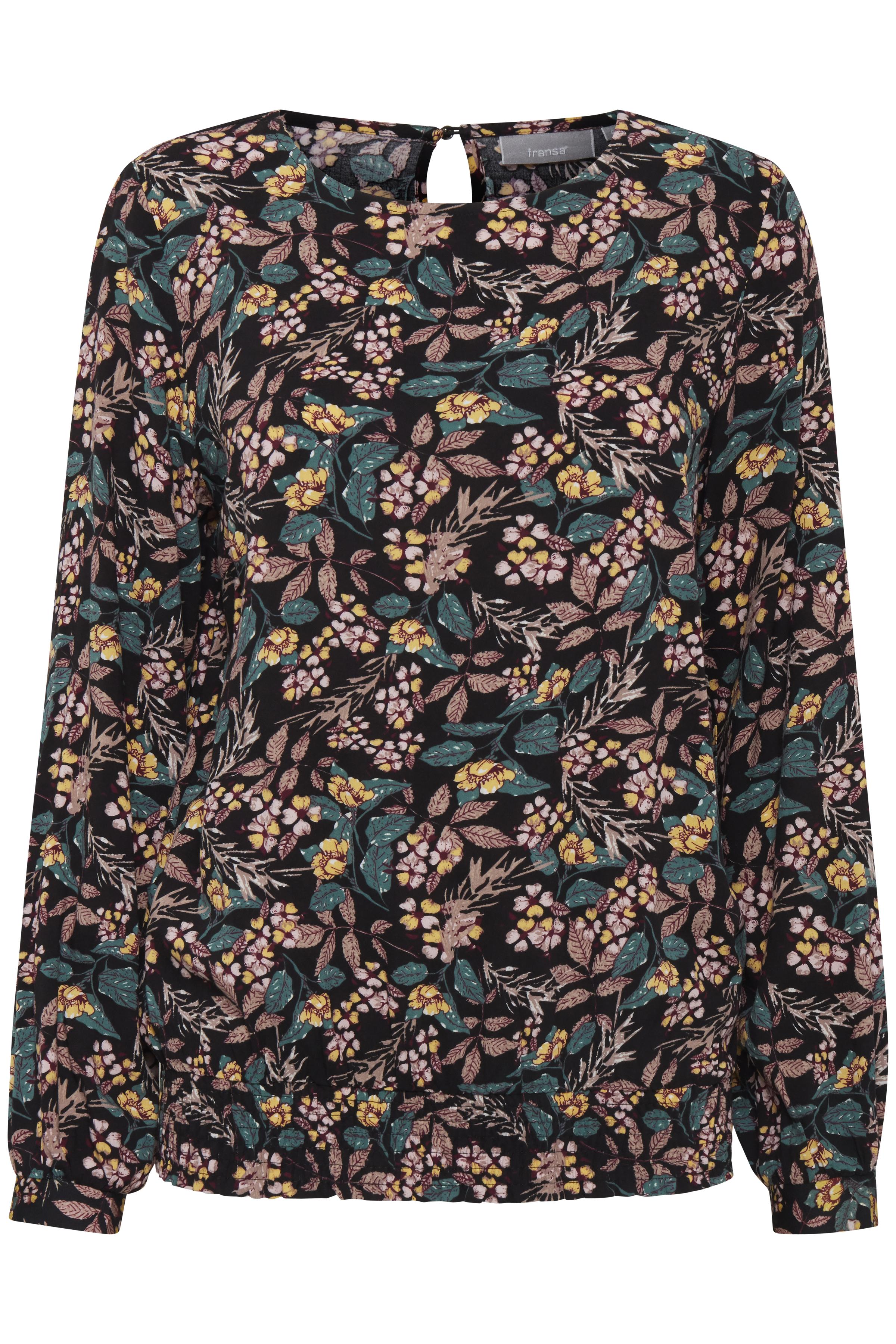 Sort/rosa Langærmet bluse fra Fransa – Køb Sort/rosa Langærmet bluse fra str. XS-XXL her