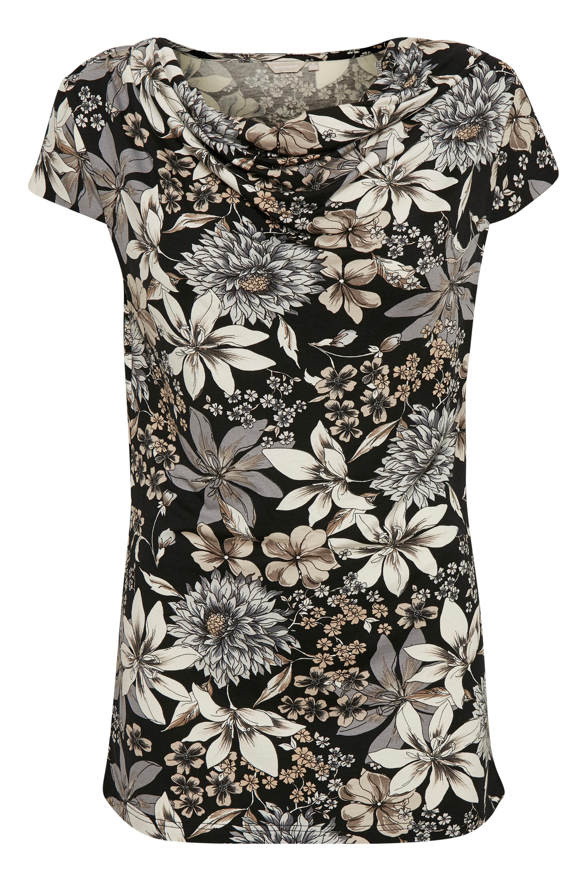 Sort/sand Kortærmet T-shirt fra Bon'A Parte – Køb Sort/sand Kortærmet T-shirt fra str. S-2XL her