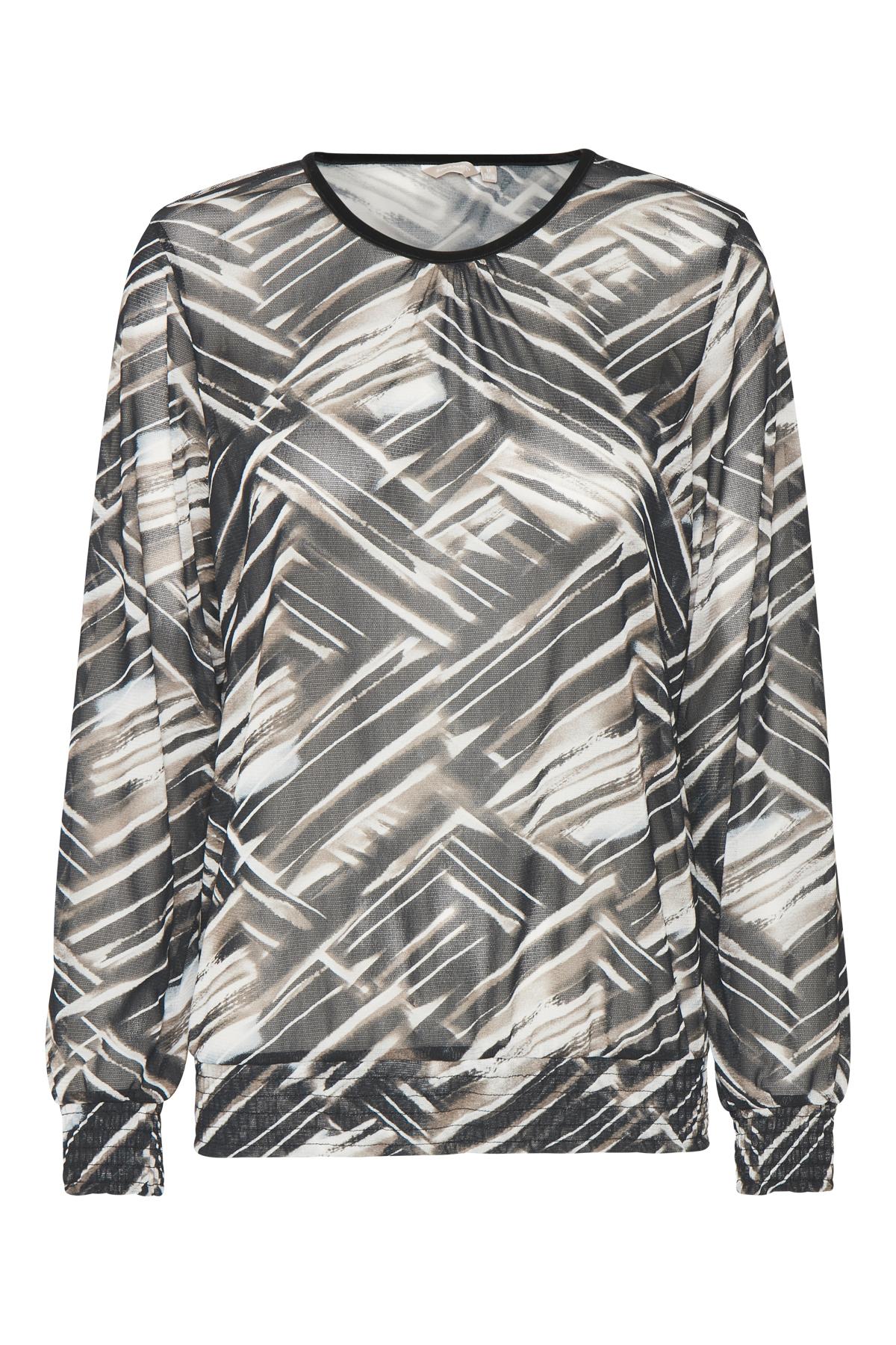 Sort/sand Langærmet bluse fra Bon'A Parte – Køb Sort/sand Langærmet bluse fra str. S-2XL her