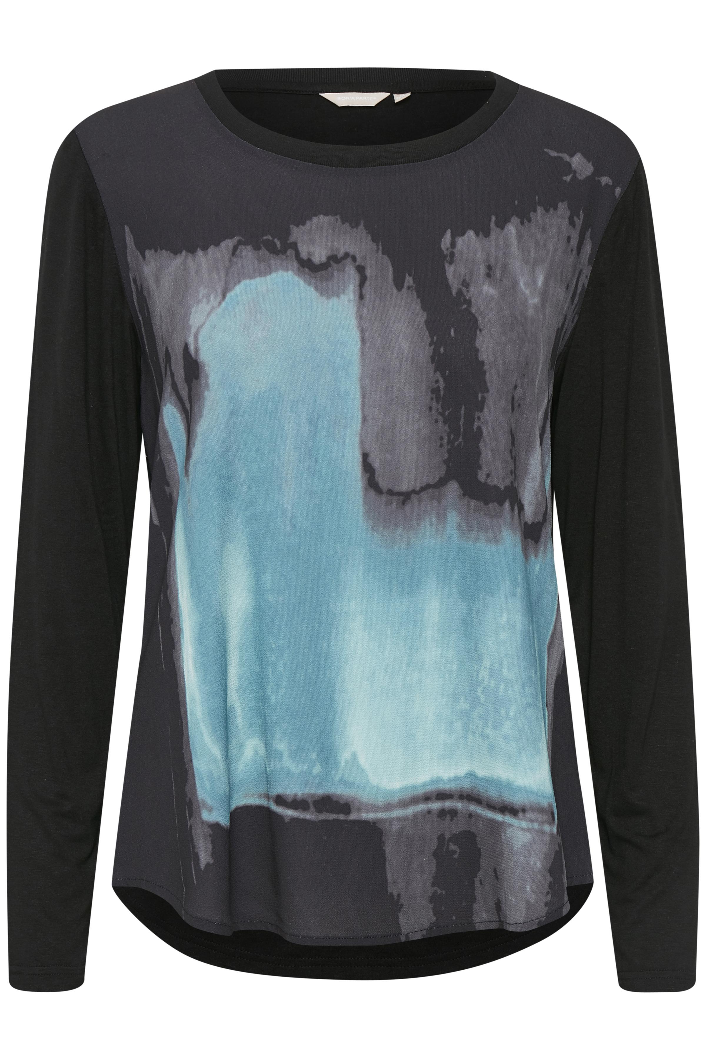 Sort/støvet blå Langærmet bluse fra Bon'A Parte – Køb Sort/støvet blå Langærmet bluse fra str. S-2XL her