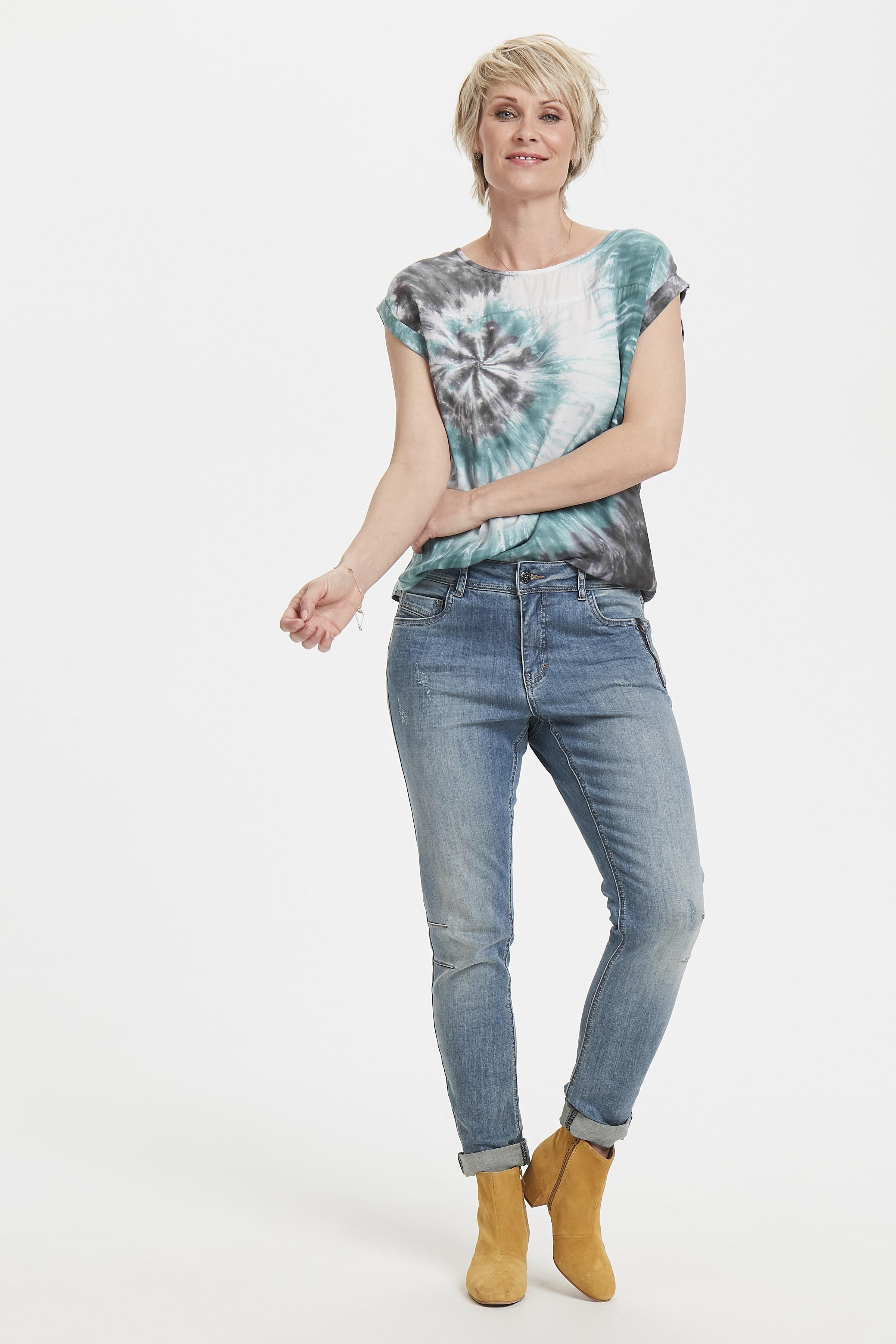 Staubblau/dunkelgrau Kurzarm-Bluse  von Bon'A Parte – Shoppen Sie Staubblau/dunkelgrau Kurzarm-Bluse  ab Gr. S-2XL hier