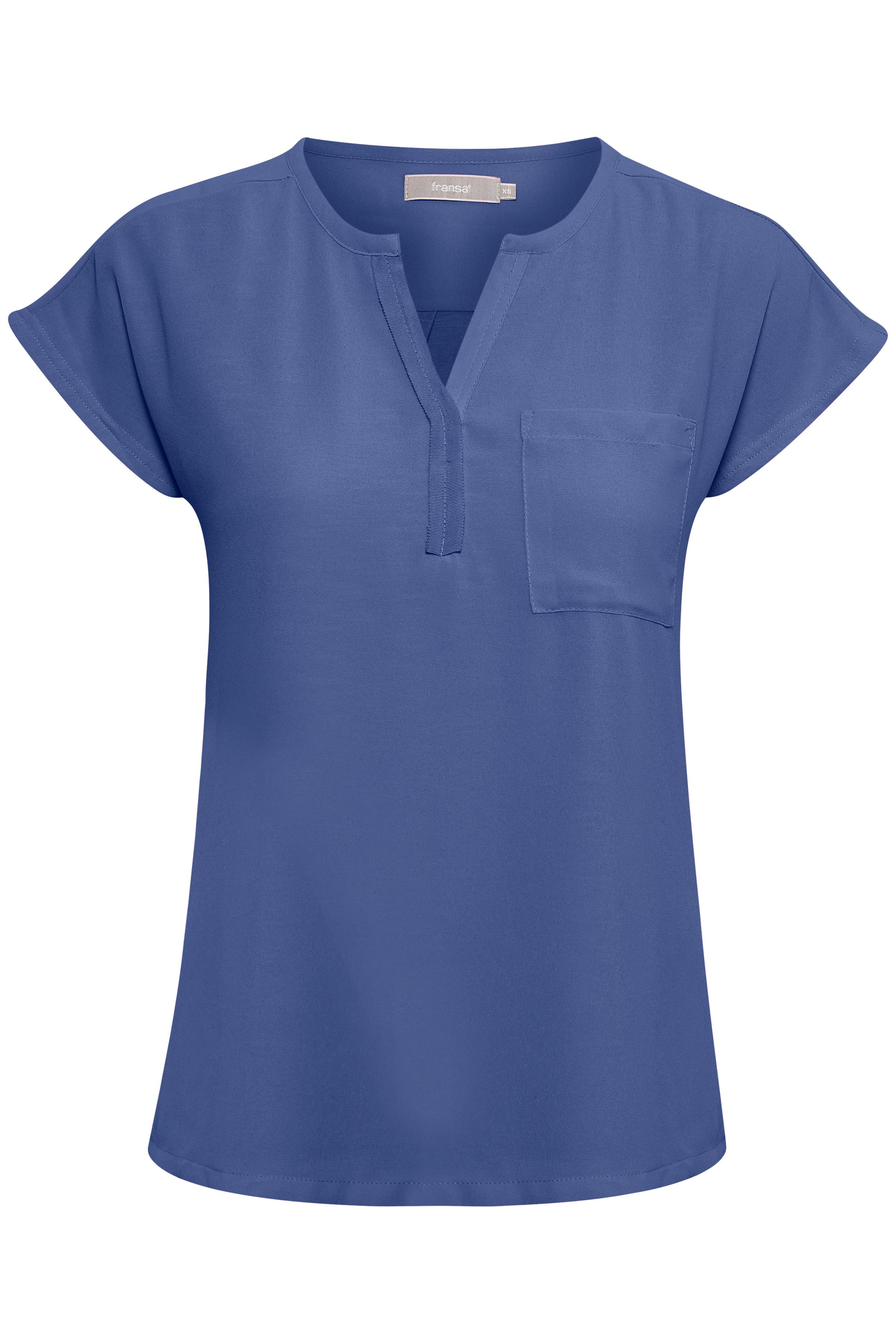 Staubblau Kurzarm-Bluse von Fransa – Shoppen Sie Staubblau Kurzarm-Bluse ab Gr. XS-XXL hier
