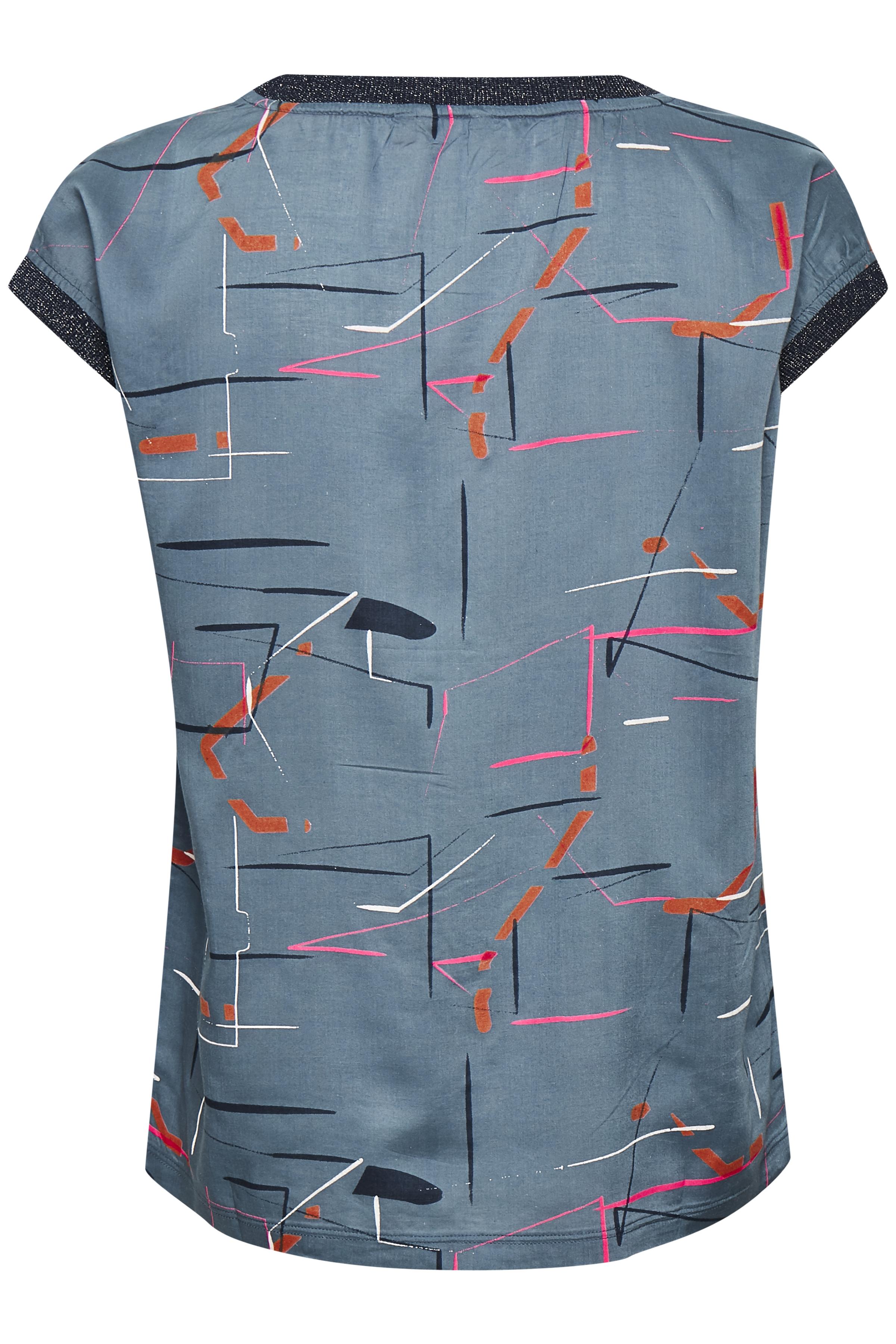 Staubblau/pink Kurzarm-Bluse  von Bon'A Parte – Shoppen Sie Staubblau/pink Kurzarm-Bluse  ab Gr. S-2XL hier