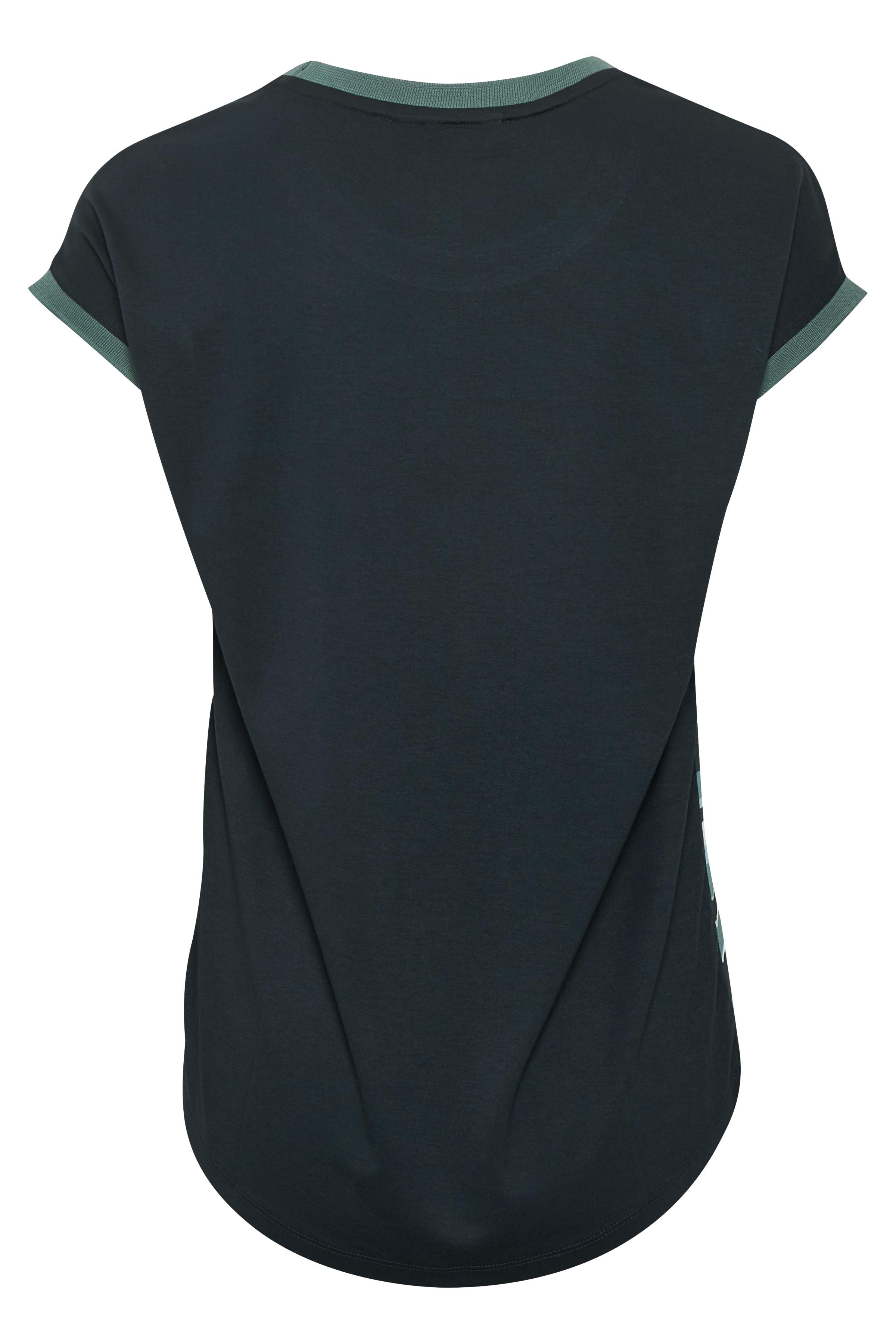 Staubgrün/blau Kurzarm-Bluse  von Bon'A Parte – Shoppen Sie Staubgrün/blau Kurzarm-Bluse  ab Gr. S-2XL hier