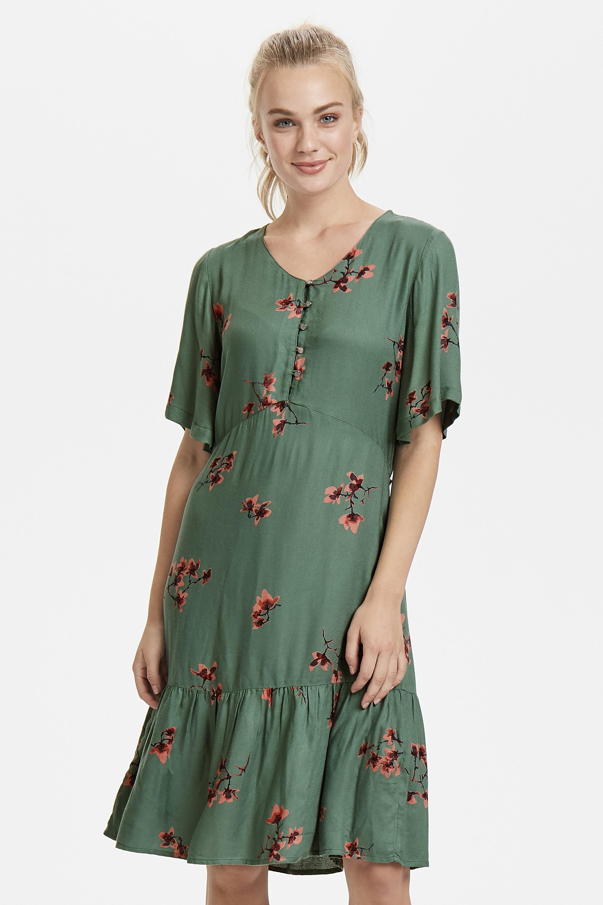 Staubgrün/korallenrot Kleid von Bon'A Parte – Shoppen Sie Staubgrün/korallenrot Kleid ab Gr. S-2XL hier
