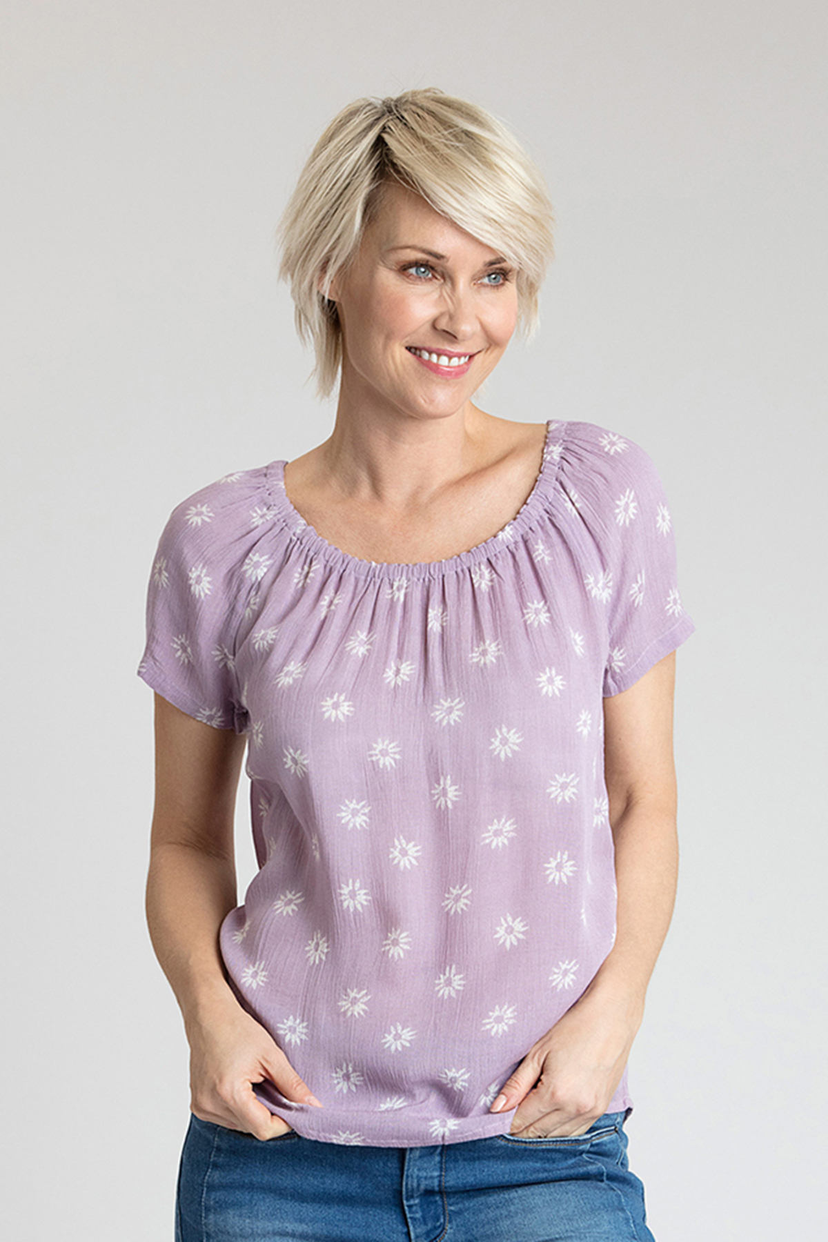 Staublila Kurzarm-Bluse von Bon'A Parte – Shoppen SieStaublila Kurzarm-Bluse ab Gr. S-2XL hier