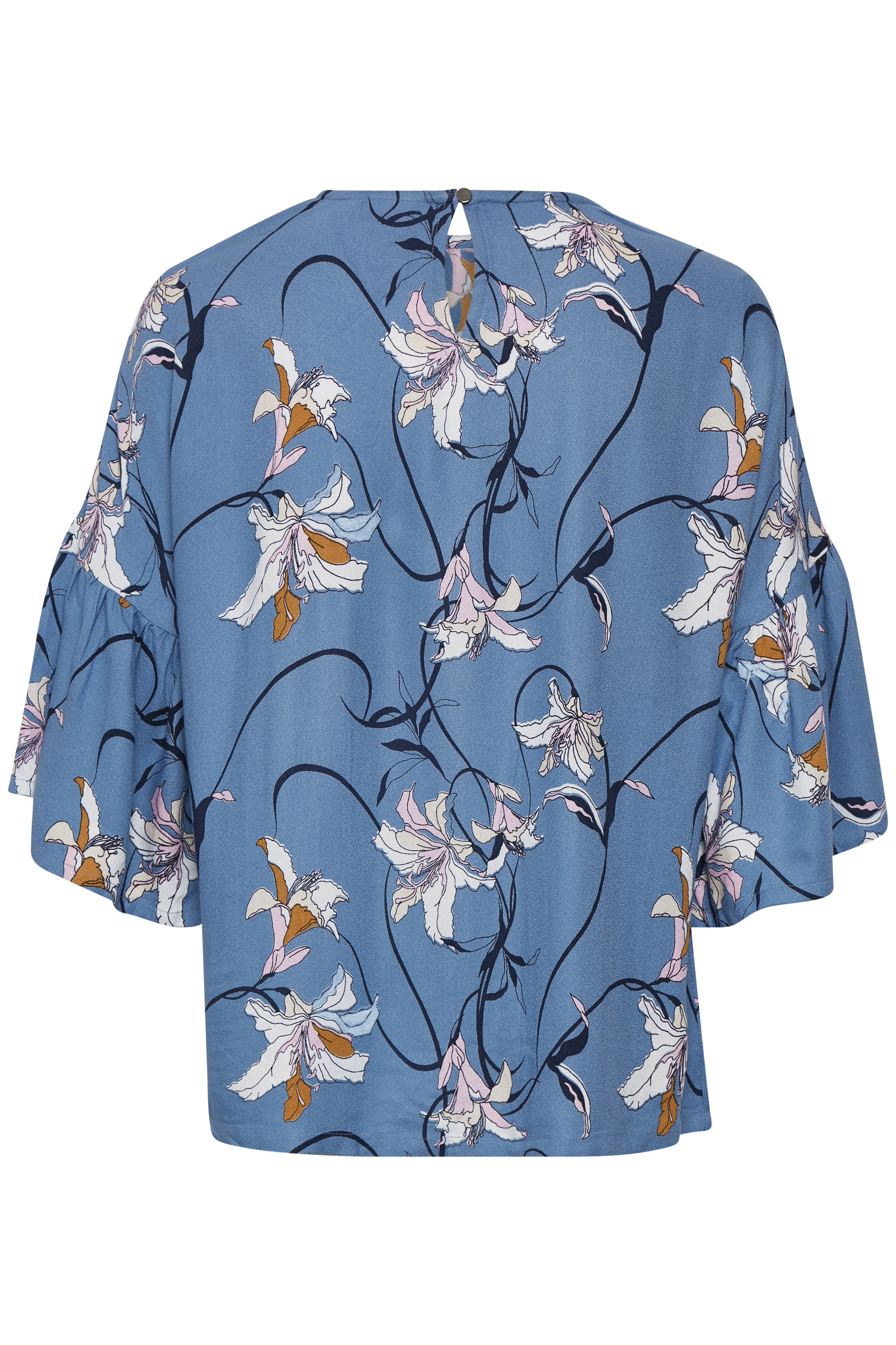 Støvet blå/hvid Bluse  fra Kaffe – Køb Støvet blå/hvid Bluse  fra str. 34-46 her