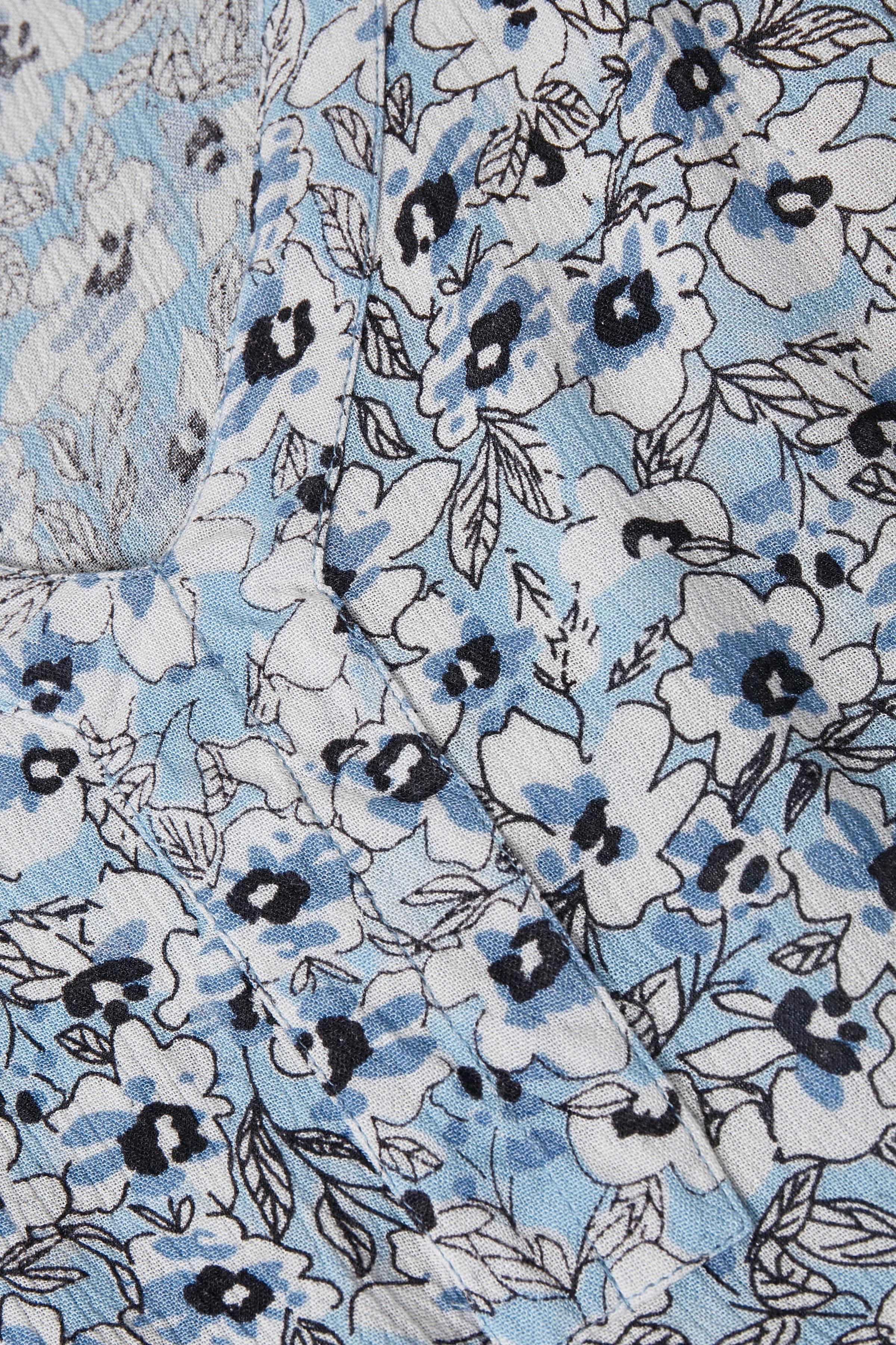 Støvet blå/hvid Kortærmet bluse  fra Kaffe – Køb Støvet blå/hvid Kortærmet bluse  fra str. 34-46 her