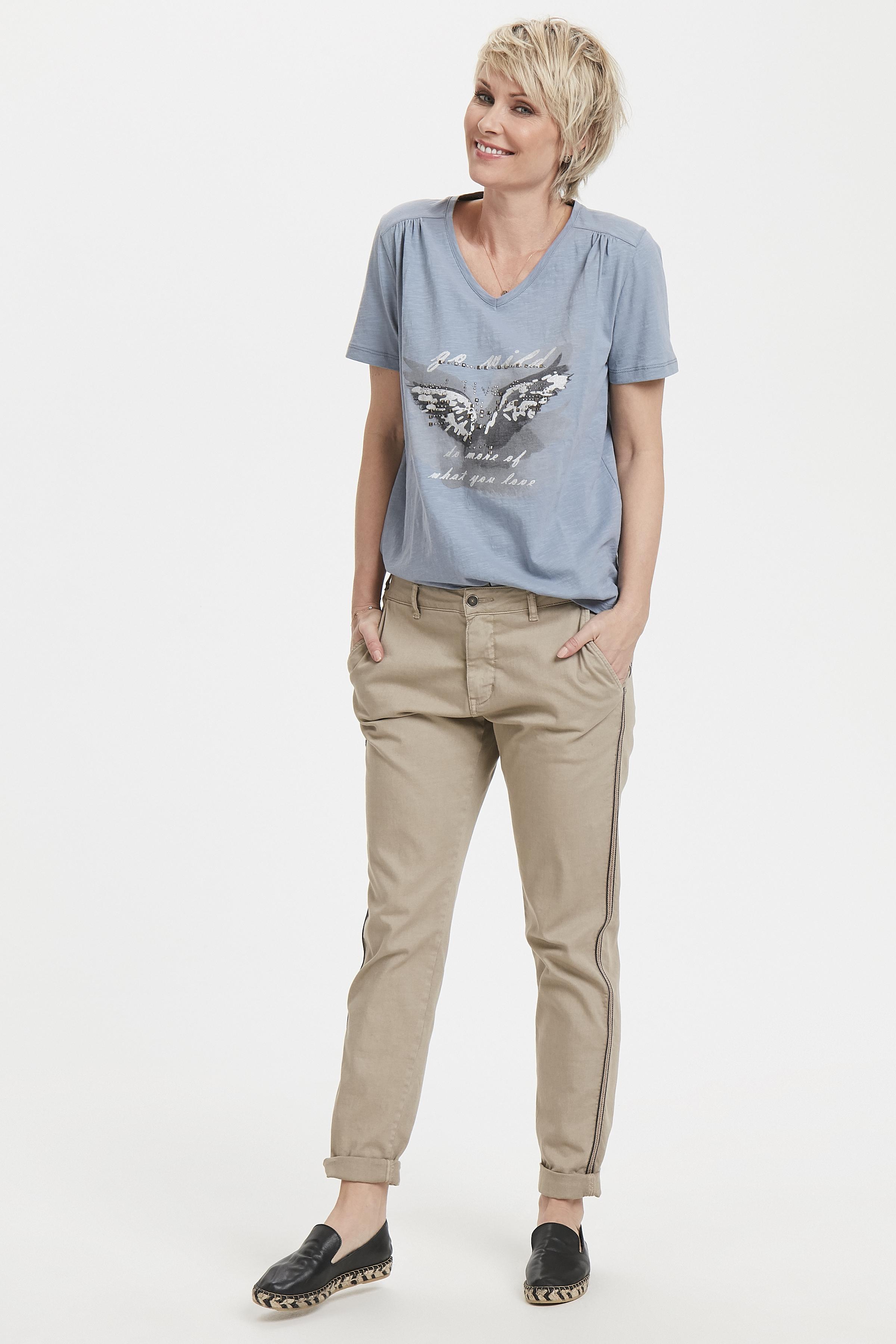 Støvet blå Kortærmet T-shirt fra Bon'A Parte – Køb Støvet blå Kortærmet T-shirt fra str. S-2XL her
